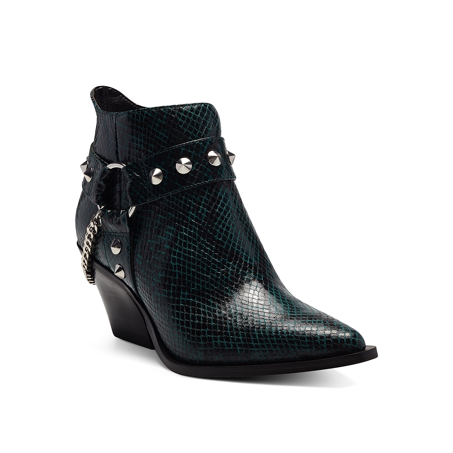 Western appeal gets a modern update with the Zayrie bootie from Jessica Simpson. Featuring a studded harness with a chain accent, this ankle boot adds edge to any outfit. Click here for Boot Measuring Guide.