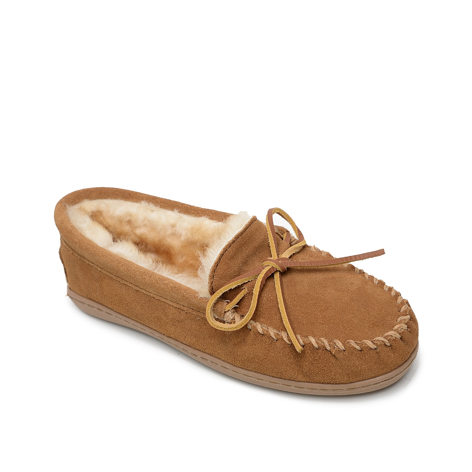 Be it indoors or outdoors, the Minnetonka Sheepskin Hardsole moccasin slipper can be a cute option. Rich suede construction with raw-hide laces is backed by a plush shearling lining for keeping your foot free from moisture.