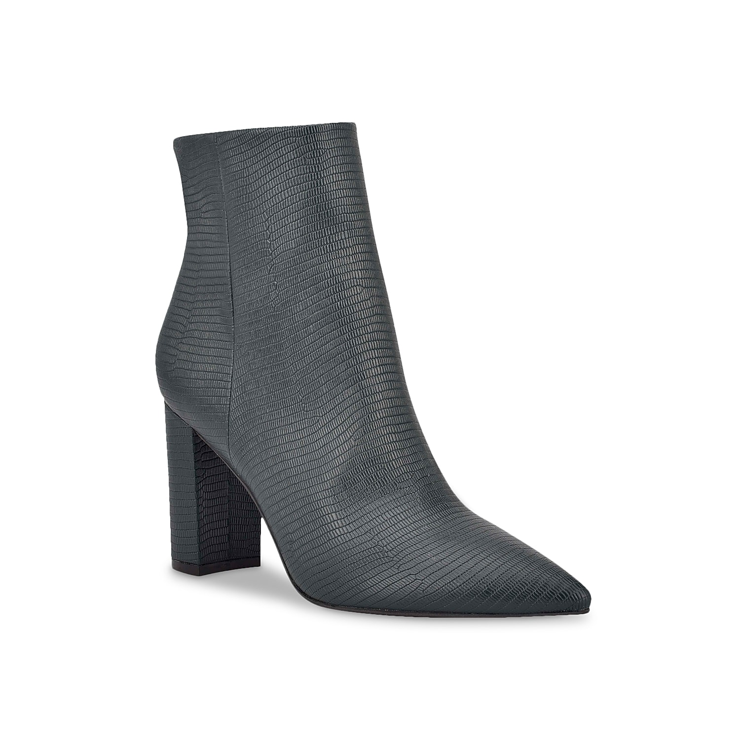 The Glorena bootie from Marc Fisher infuses elegance and poise to your ensemble. Made of leather, it is fashioned with pointed toe design and elevated with block heel.