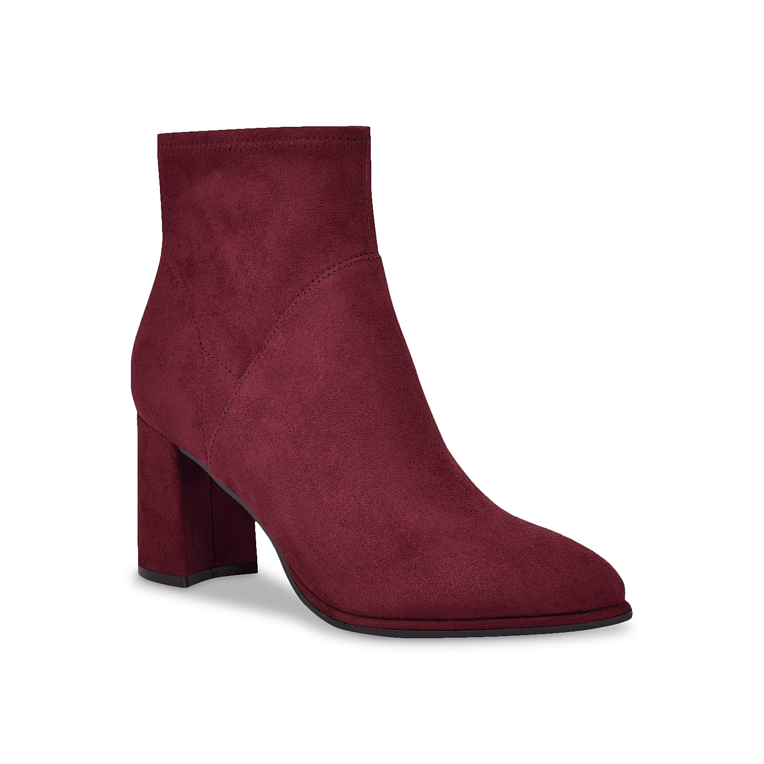 Complement the fall colors with the Dyvine bootie by Marc Fisher. This elegant bootie showcases stretch upper for a comfortable fit along with pointed and covered block heel for added style.