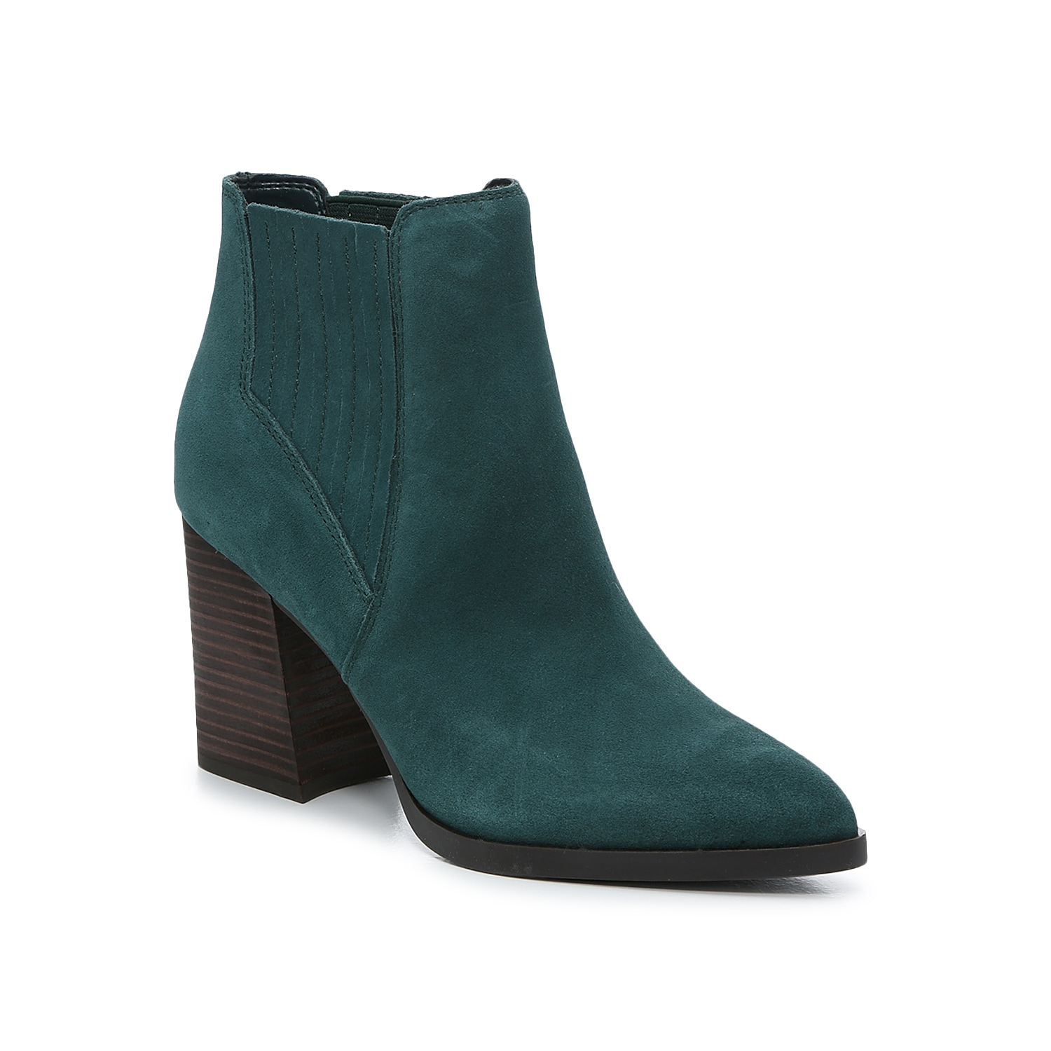 The Eilise bootie from Marc Fisher infuses elegance and poise to your ensemble. Made of leather or suede, it is fashioned with a pointed toe design, slanted heel, and hidden elastic gores for a stretch fit.Click here for Boot Measuring Guide.