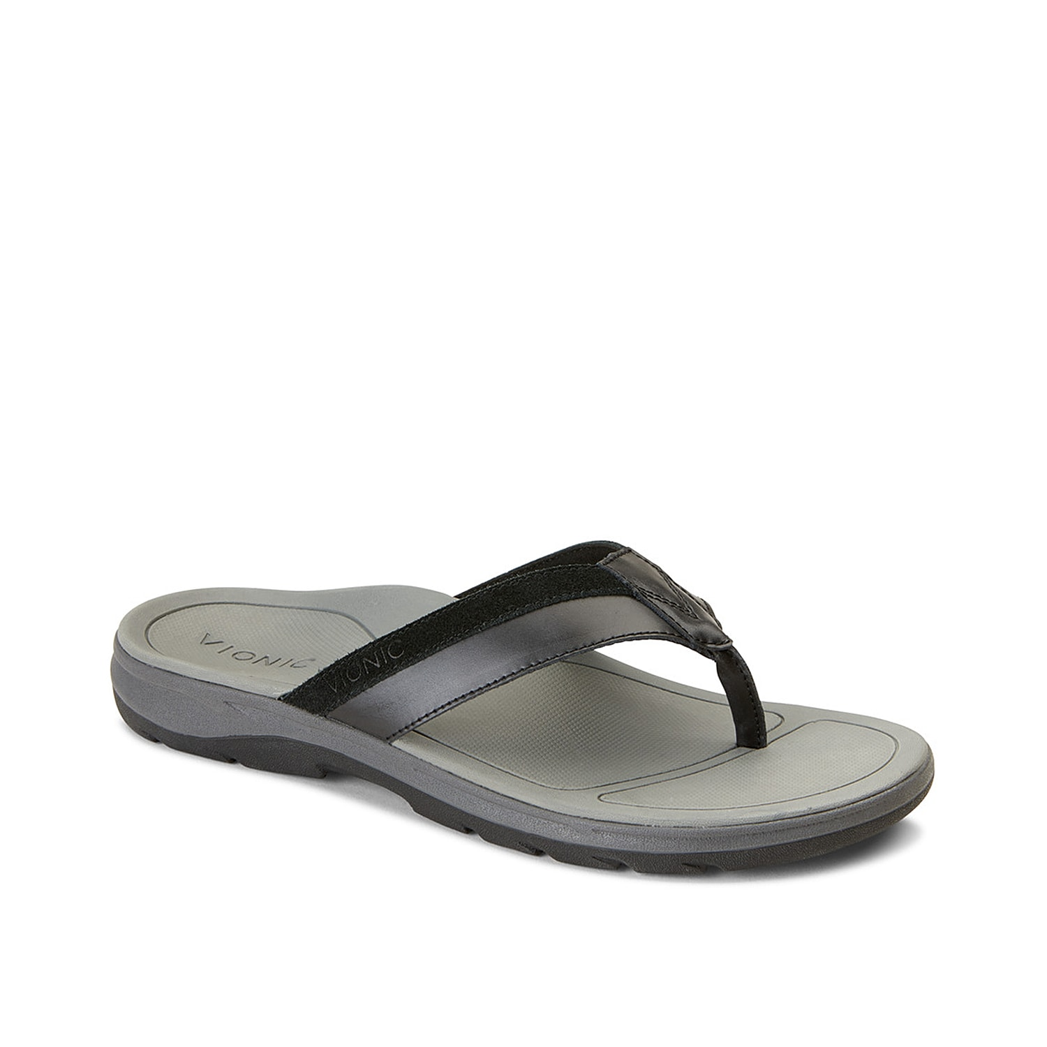 Laze out in style with the Dennis thong sandal from Vionic. It features two-tone leather thong straps, contoured footbed that cradle your foot in comfort and durable rubber sole with treads for sturdy footing.