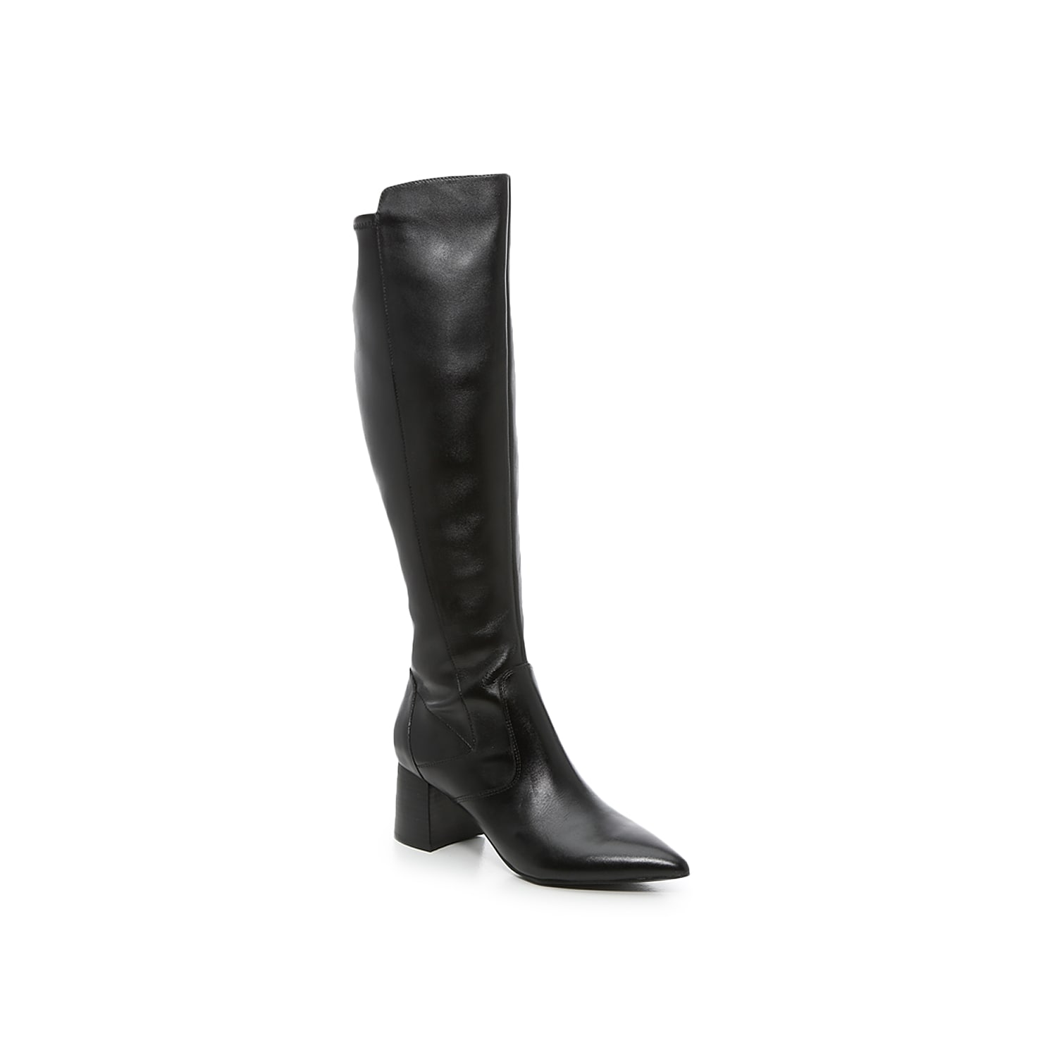Keep it classic with the Jazmyn boot from Marc Fisher. This knee-high boot is split between a genuine leather front panel and faux leather back panel that\\\'s infused with a stretch topline for just-right comfort. A sharply pointed toe adds drama to the silhouette. Click here for Boot Measuring Guide.