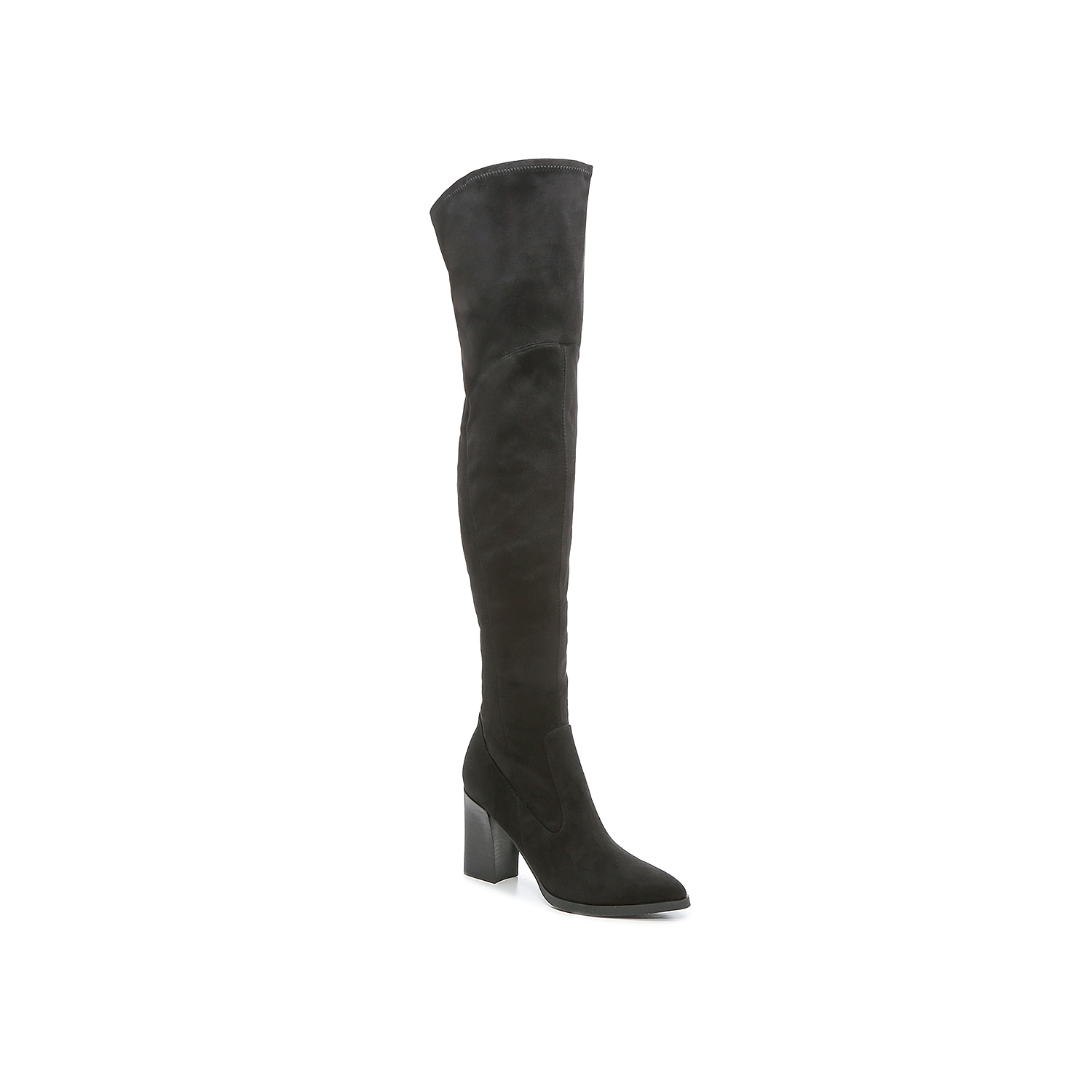 Bring on the looks by styling the Eilah OTK boot from Marc Fisher. These thigh highs feature a curve-hugging shape in soft suedette fabric that stretches slightly at the topline for pull-on ease. A high heel and pointed toe add to the drama. Click here for Boot Measuring Guide.