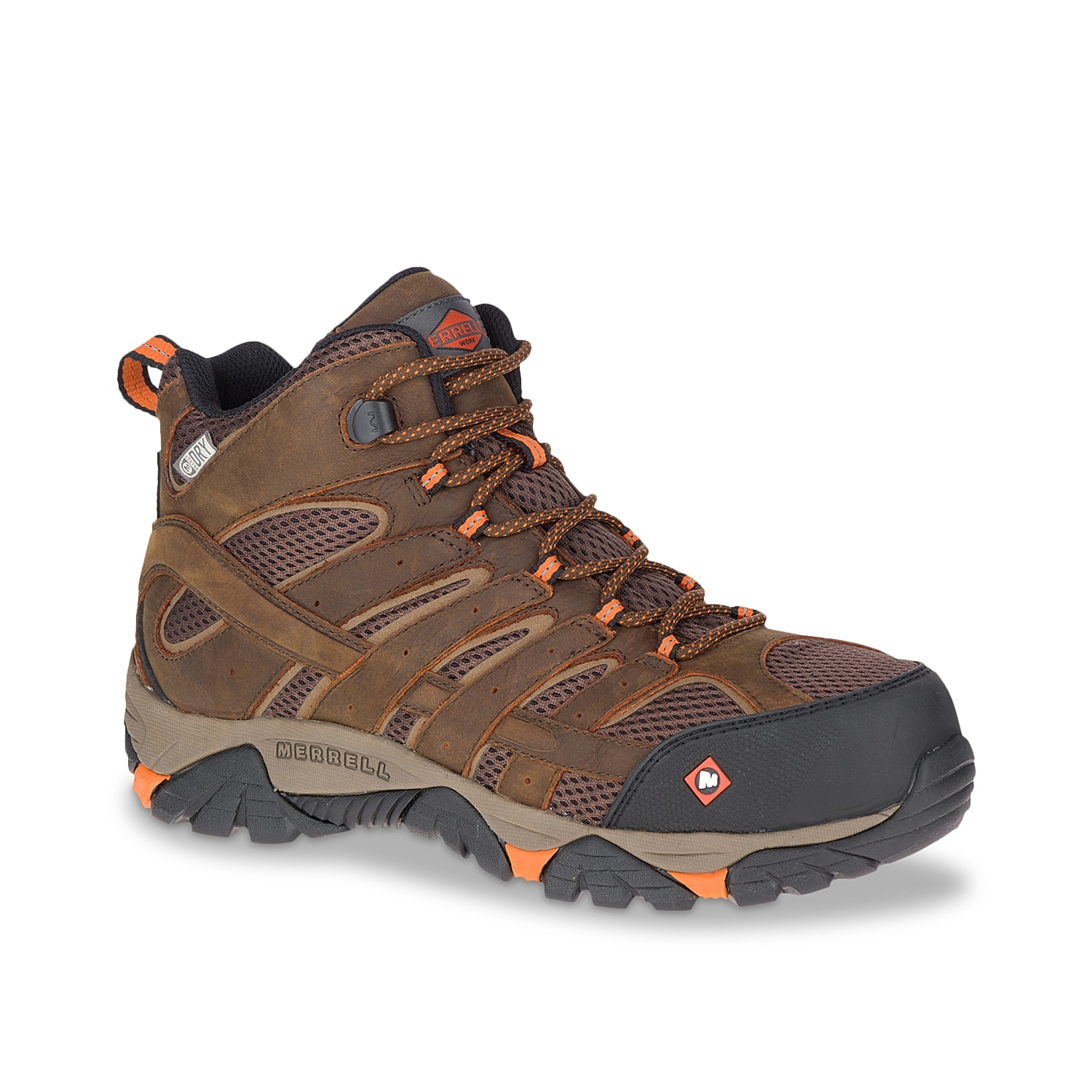 Trail job sites can be tiring and unsafe and that\\\'s why you need the Merrell Moab Vertex mid work boot. Featuring waterproof and airy leather-textile construction, this lace-up boot has secure composite toe, comfortable comfortbase footbed and midsole along with slip or oil-resistant sole.