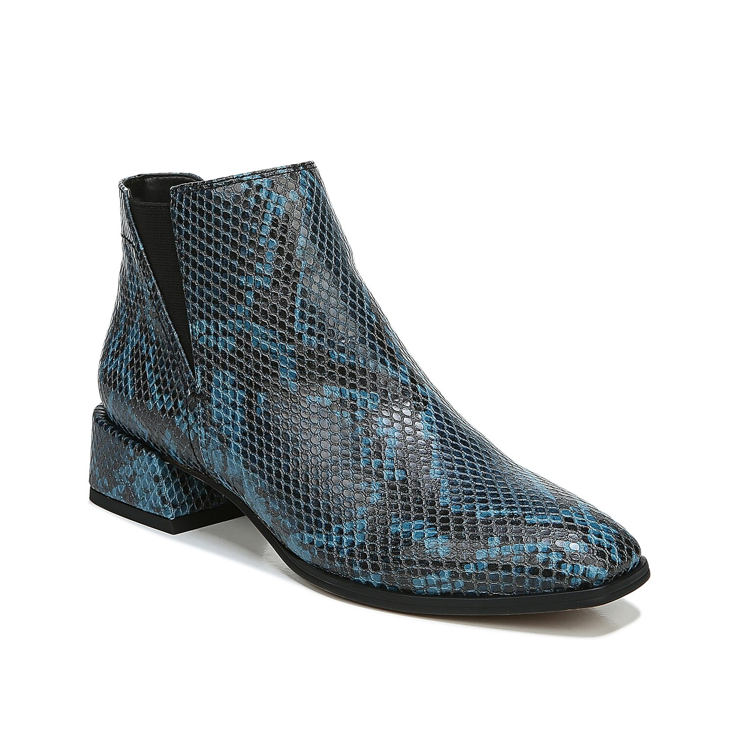 The Franco Sarto Nico bootie brings that edge of sophistication to your dressy looks. Comprising slightly textured leather upper, this bootie has coordinating stitching accents, outside elastic gore and a polished block heel.Click here for Boot Measuring Guide.