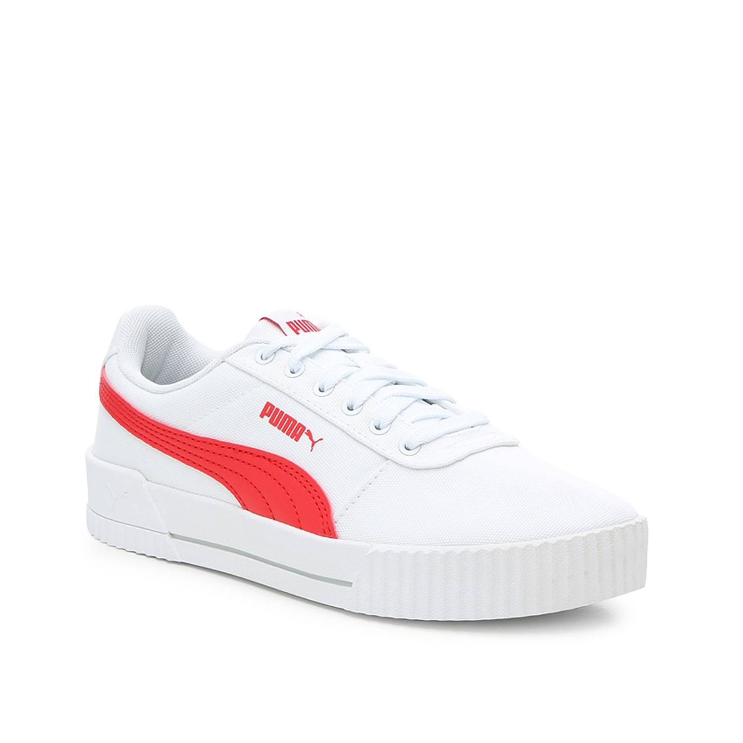 Grab everyone\\\'s attention in the Carina sneaker from Puma. These lace-ups feature a sporty aesthetic and contrasting panels for eye-caching appeal.
