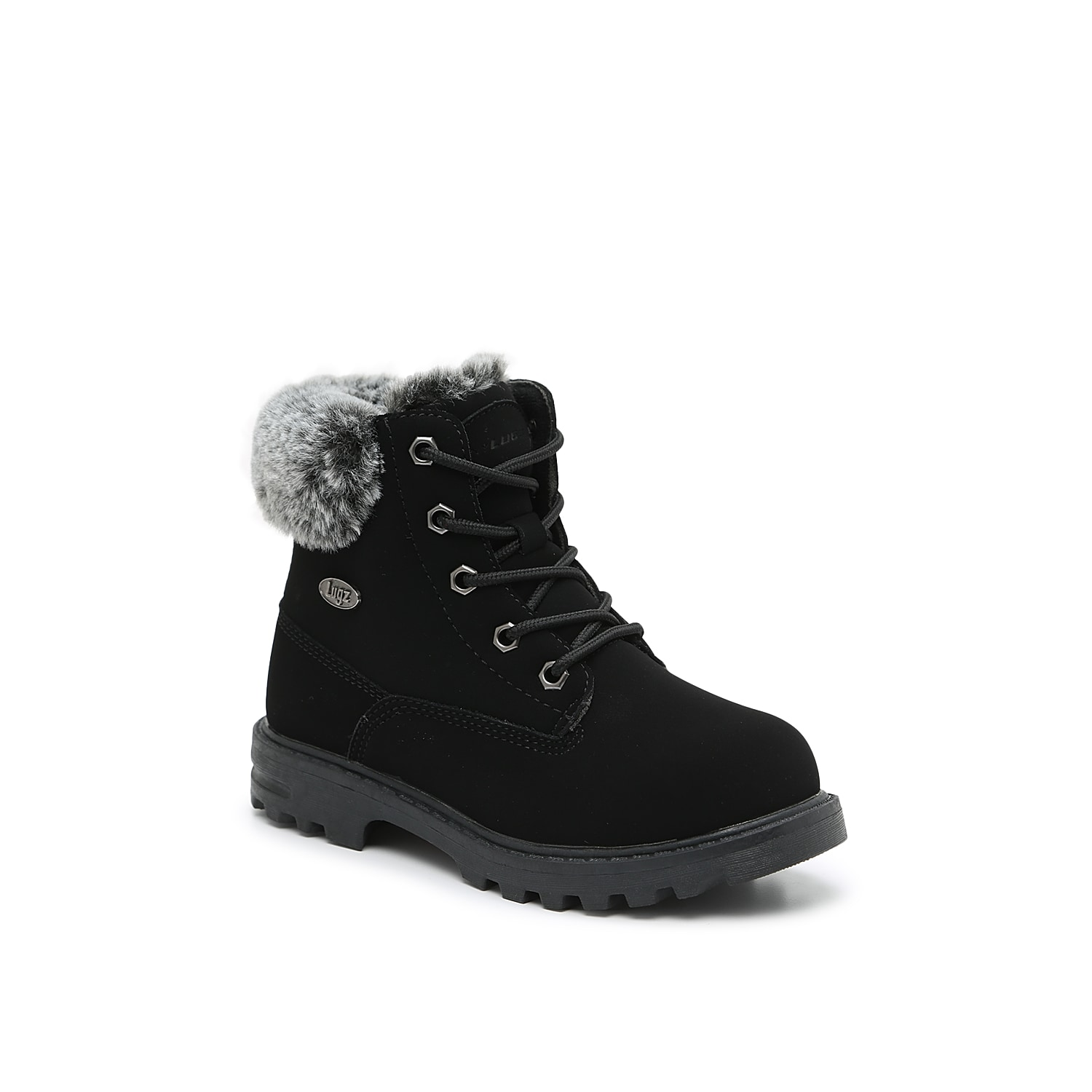 The Empire Hi furry combat boot from Lugz gives your little one a cozy winter ensemble! This lace-up features an adorable faux fur collar and lining that will keep her warm and stylish all season long. Not sure which size to order? Clickhereto check out our Kids' Measuring Guide! For more helpful tips and sizing FAQs, clickhere.