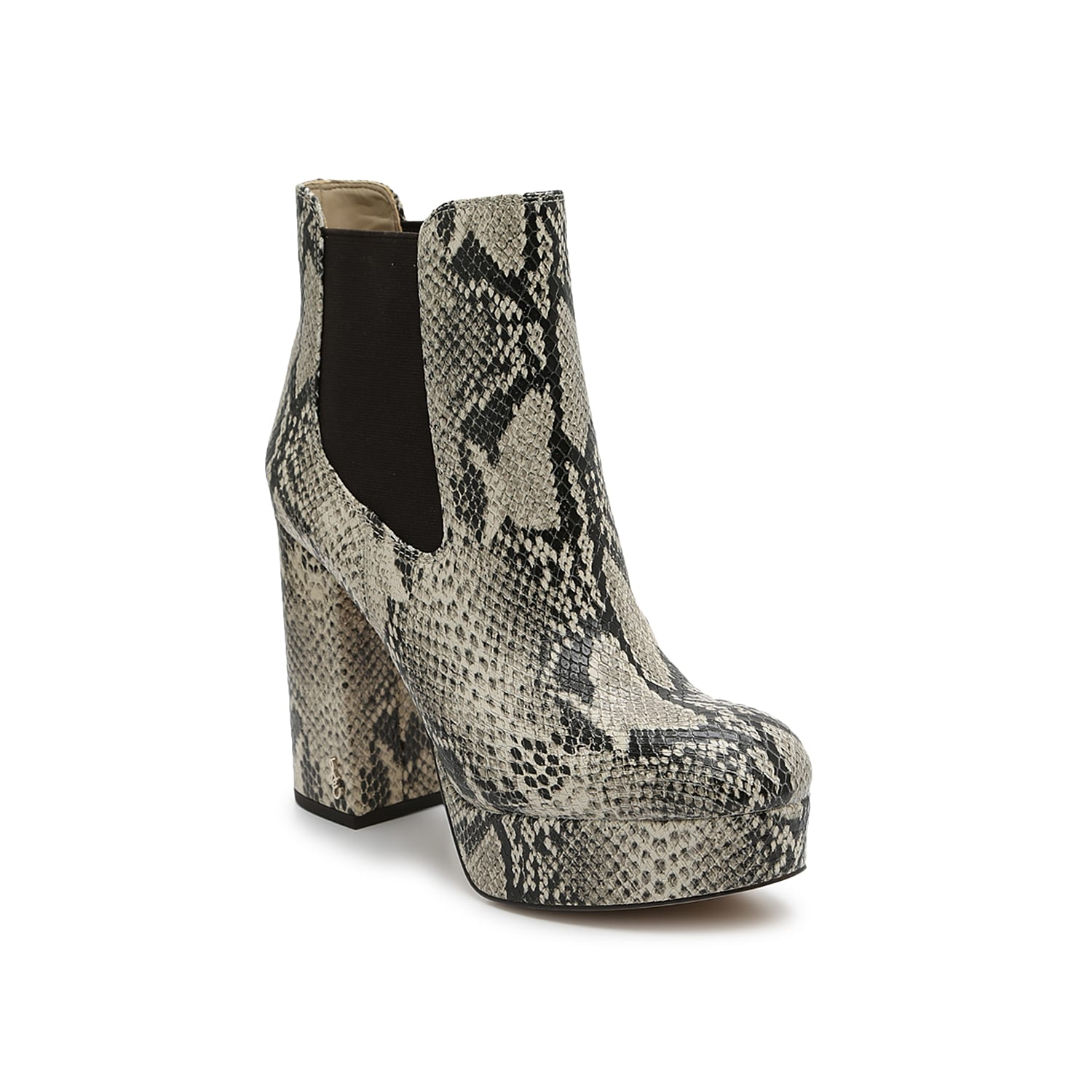 Remix your ankle bootie collection with the Abella platform boot from Sam Edelman. This Chelsea boot features an extra chunky block heel, integrated platform, and all-over reptile embossing in a monotone neutral that\\\'s easy to match.