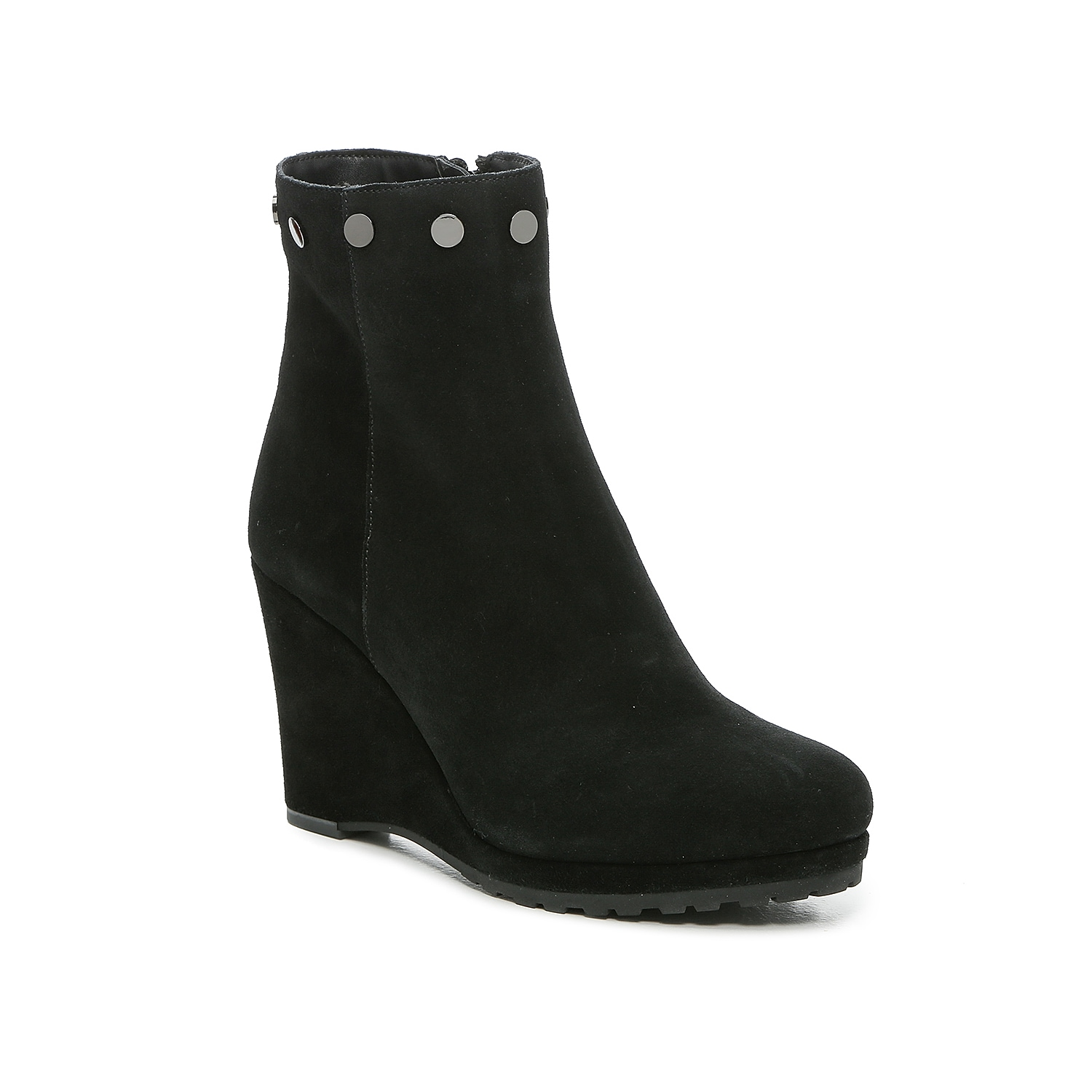 Elevate your shoe collection with the Jili ankle bootie from VANELi. This pair with trimmed with flat metallic studs and raised by a high-heel wedge in a seamless, all-suede design. Click here for Boot Measuring Guide.