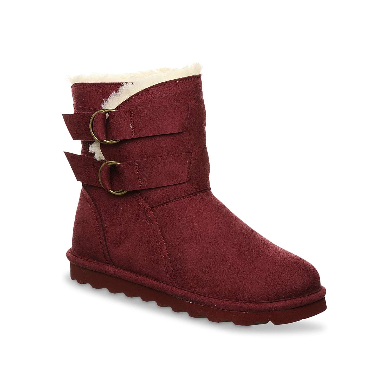 The Bearpaw Aloe bootie is a charming and comfortable footwear that can go well with most outfits. Completely vegan, this bootie is detailed with ring buckle strap and treated with NeverWet® technology.Click here for Boot Measuring Guide.