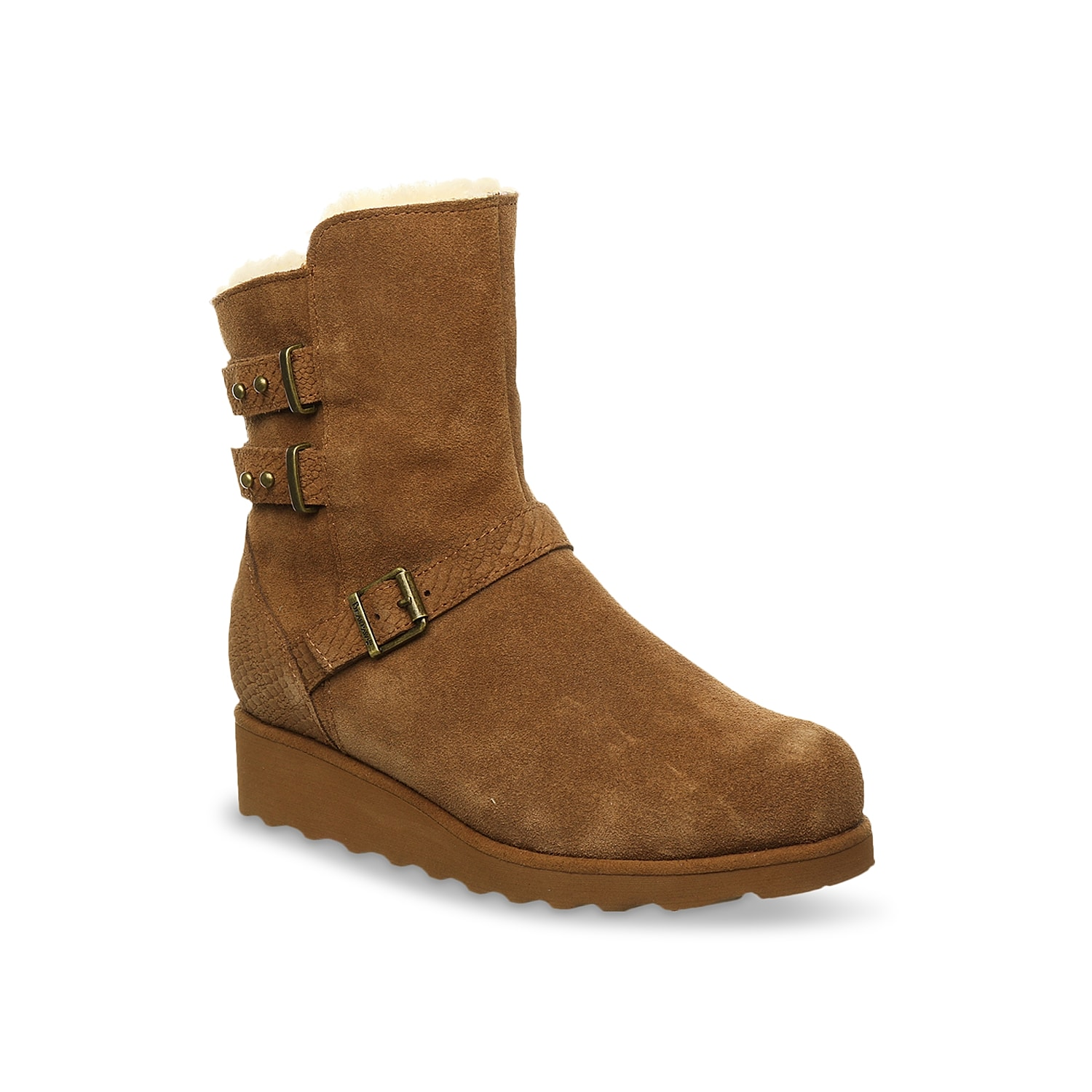 Pair your skinnies with the Bearpaw Lucy bootie and woo the onlooker. It comprises attractive metal post buckles, convenient YKK zipper and detachable comfort shearling footbed.Click here for Boot Measuring Guide.