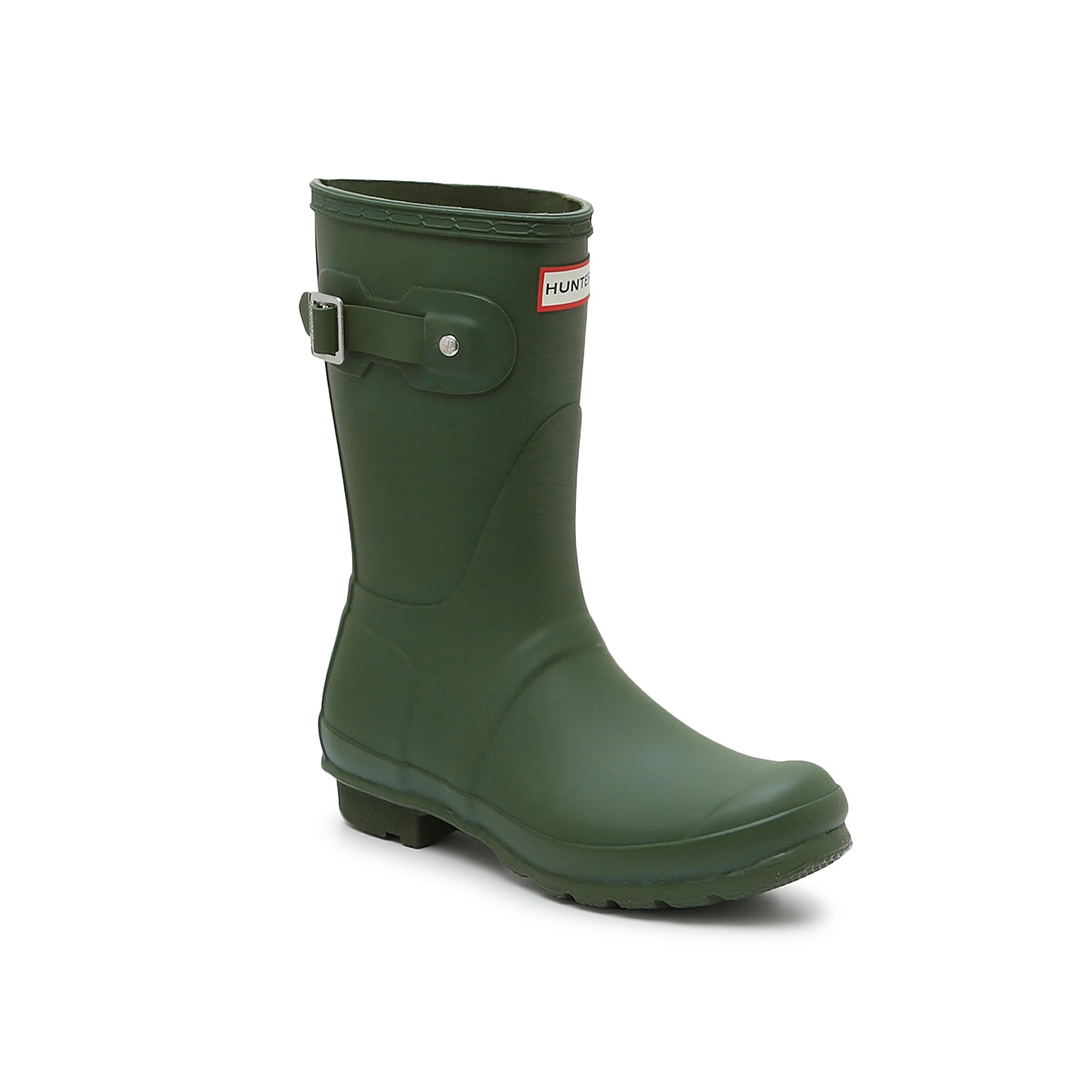 Don\\\'t be afraid to splash around in the Hunter Original Short Matte rain boot. These matte wellies feature an adjustable back gusset, so you can rock this waterproof pair with jeans and thick socks without a problem. Click here for Boot Measuring Guide.