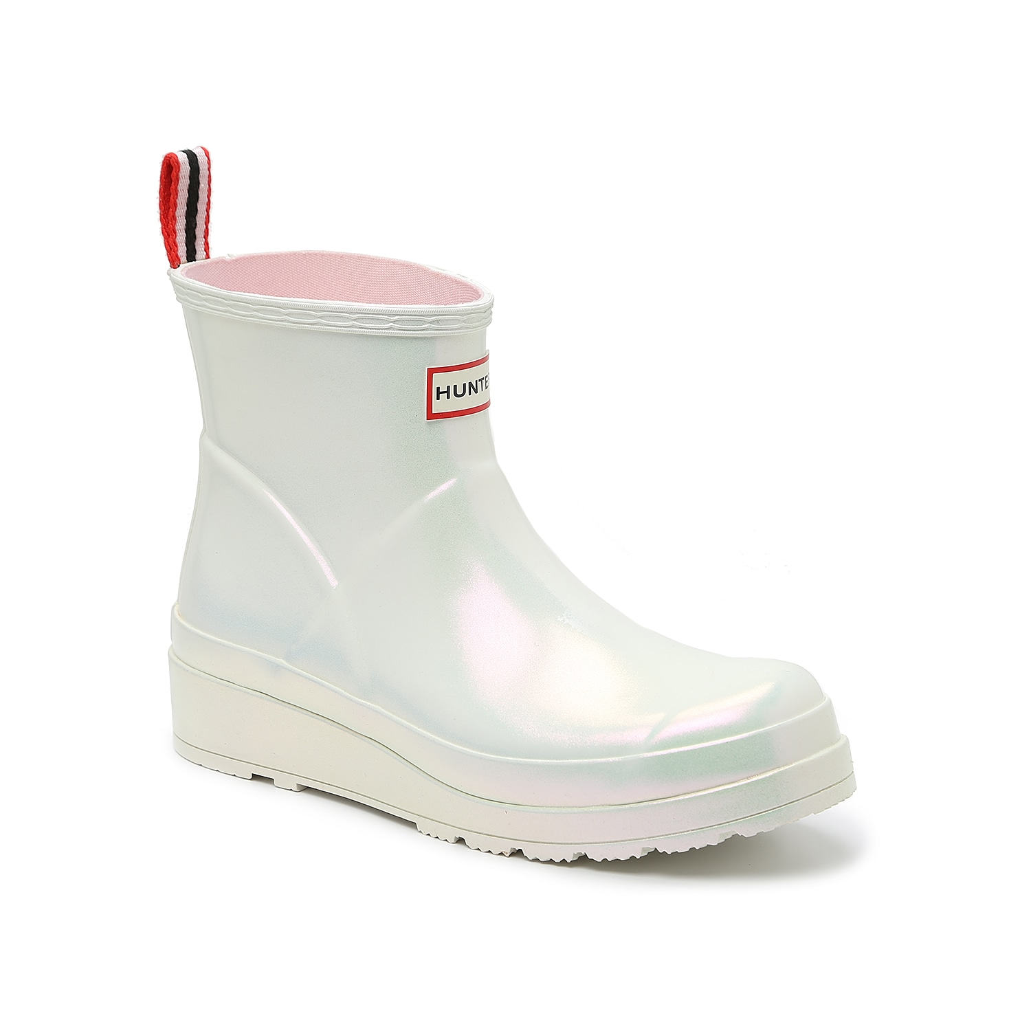 The Nebula Play Short rain boot hits at the top of the ankle for stylish height that complements street fashion. A slight wedge boosts the silhouette, while a playful pearlescent finish gives these boots a bit of shine. Traditional striping completes the heel pull and matching logo.Click here for Boot Measuring Guide.