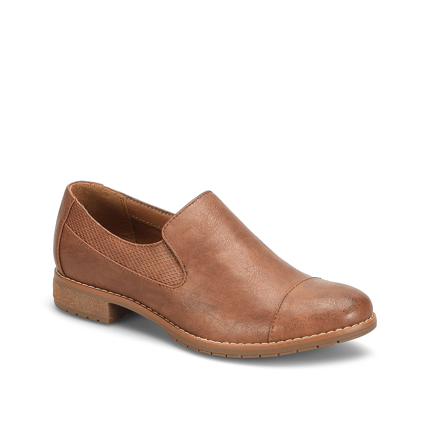 Complete your menswear-inspired look with the Eurosoft Waverly loafer. This slip-on showcases textured panel at the topline, cap toe styling and a block heel for a modest lift.