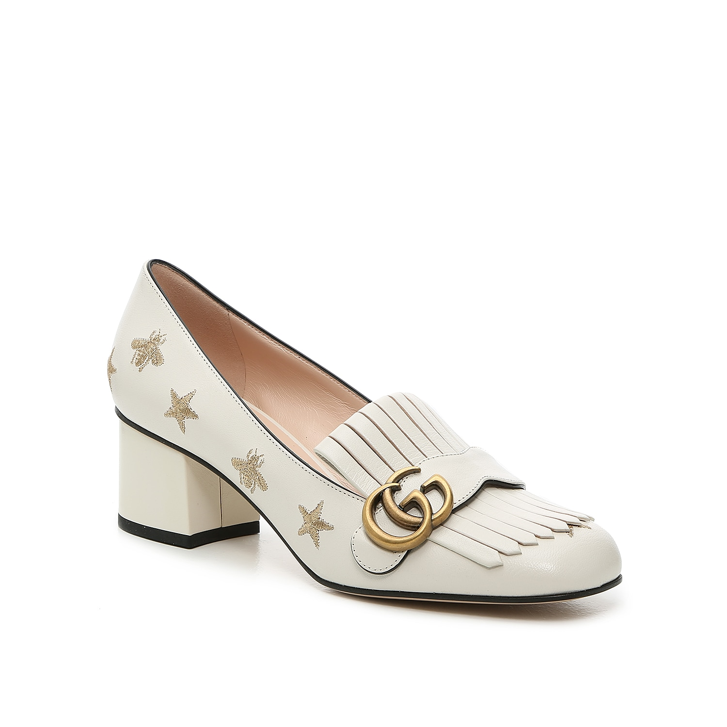 Elevating the appearance of a classic loafer, the Marmont 55 is a timeless Gucci design. Double G hardware with an antique gild decorates folded kiltie fringe that drapes over the vamp and draws attention to the modern yet softened square toe. Studded stars and golden bee emblems add whimsy to these designer dress shoes.   Made in Italy from carefully selected materials. To extend product life, protect from direct light, heat, and rain. Fill shoe with tissue paper to help maintain the shape and absorb humidity. Store in the provided flannel bag and structured shoe box.