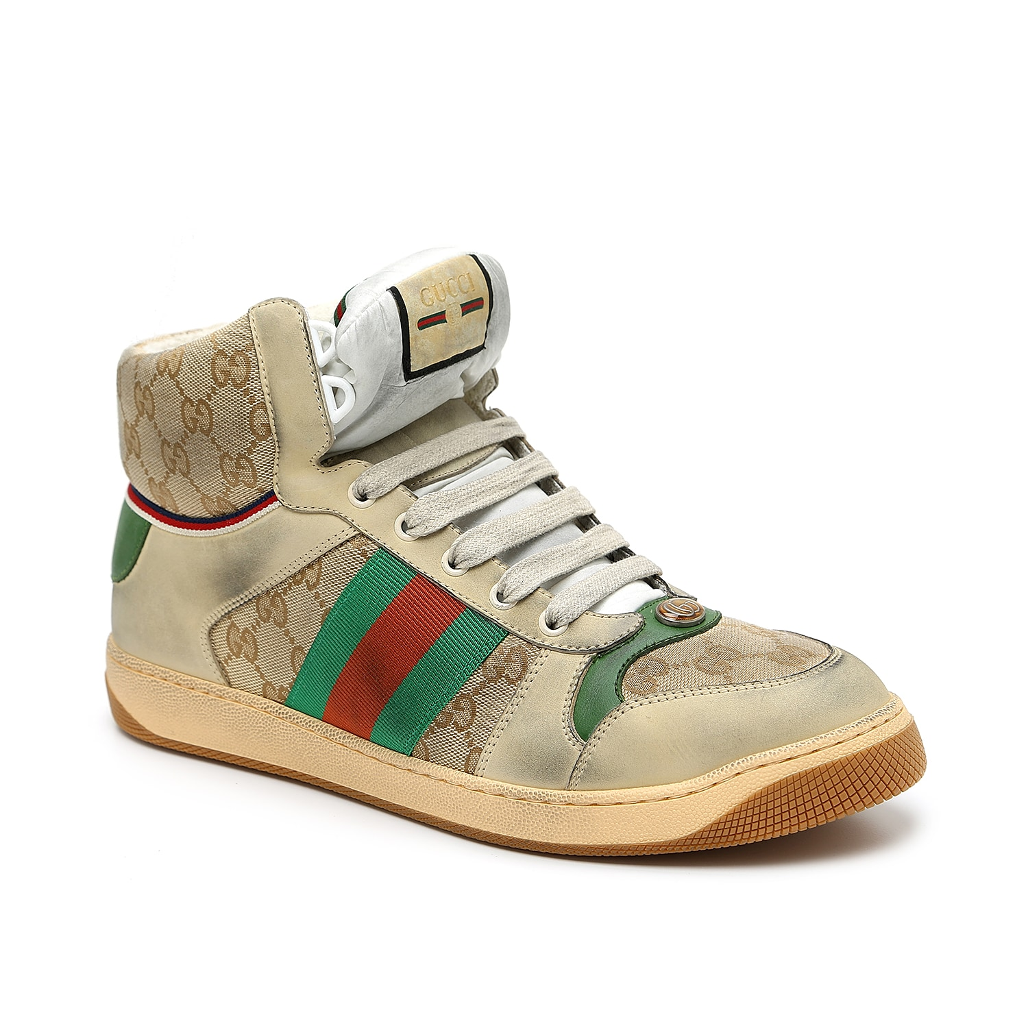 A luxury basketball sneaker designed for off-court power moves, the Screener is a Gucci original that remixes tradition with current trends. The interlocking GG web pattern coves the canvas paneling and padded ankle cuff, while the fashion house\\\'s signature red and green stripes punctuated the side profile in varsity style. Intentional distressing on the leather and outsole gives this pair a lived-in look but pristine logo embroidery ensures craftsmanship is not lost.  Made in Italy from carefully selected materials. To extend product life, protect from direct light, heat, and rain. Fill shoe with tissue paper to help maintain the shape and absorb humidity. Store in the provided flannel bag and structured shoe box.