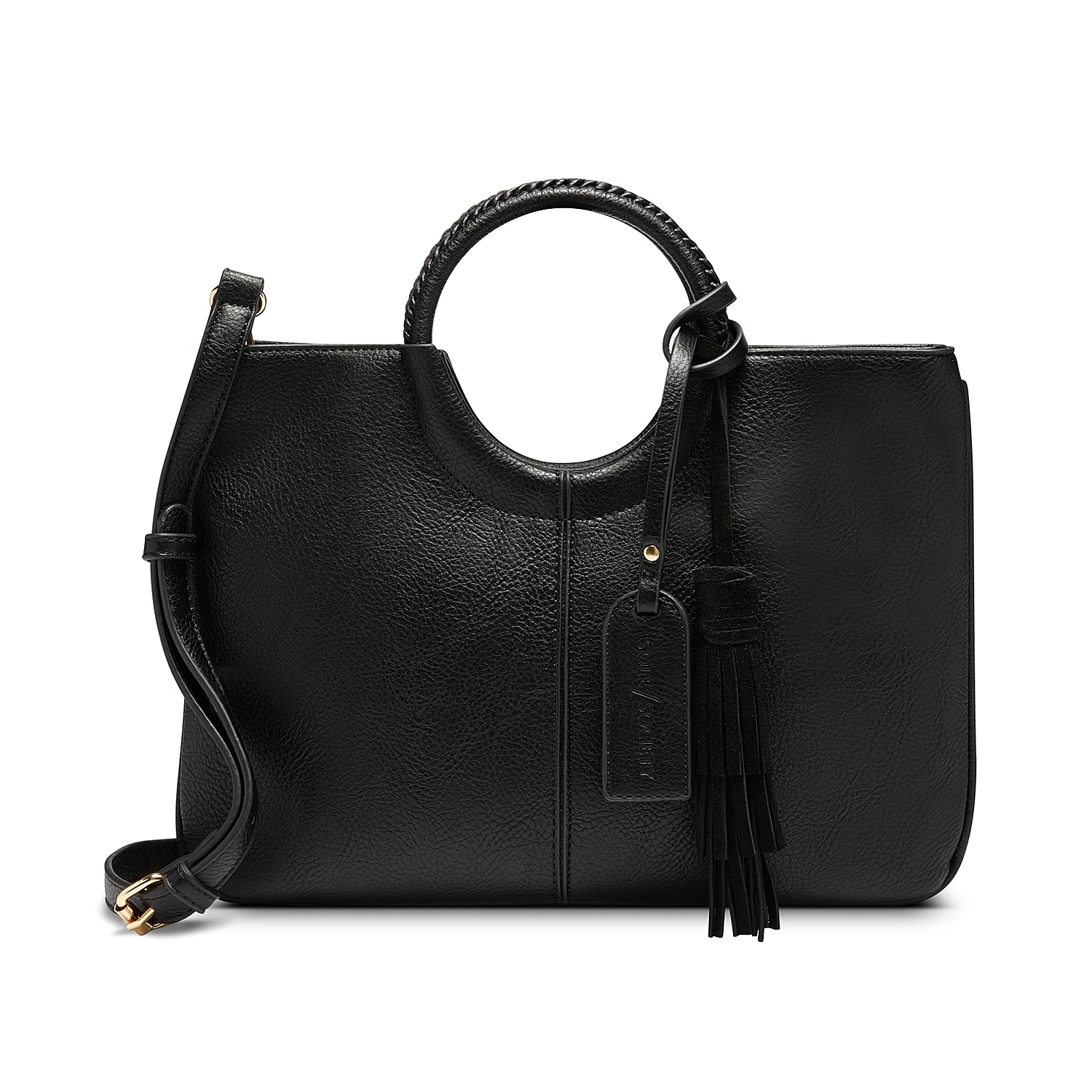 The Day satchel from Sole Society flaunts modern sophistication with its ring-shaped handles and structured design. This handbag features a removable shoulder strap for added versatility.