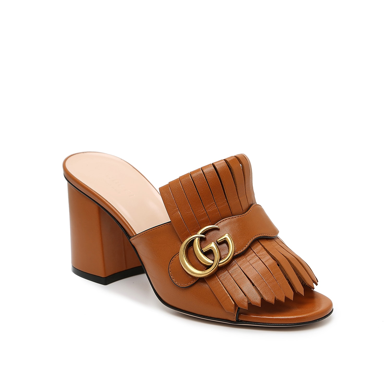An elegant blend of upscale dressing and sandal season, these Marmont 55 slides from Gucci feel as professional as they are playful. Double G hardware with an antique gild decorates folded kiltie fringe that drapes over the vamp, while an open toe and backless styling make this a charming pair to slip on at a moment\\\'s notice.   Made in Italy from carefully selected materials. To extend product life, protect from direct light, heat, and rain. Fill shoe with tissue paper to help maintain the shape and absorb humidity. Store in the provided flannel bag and structured shoe box.
