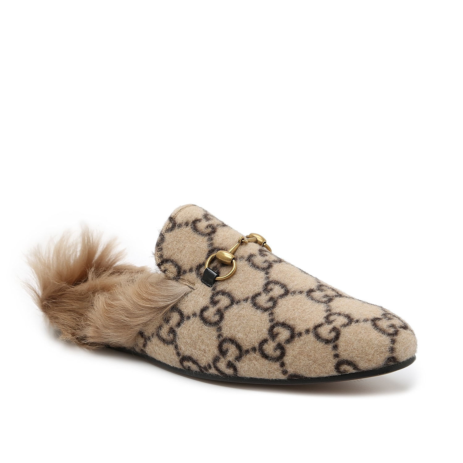 An unconventional mule that\\\'s entirely modern, the Princetown slipper is a Gucci mainstay design that\\\'s presented with GG patterning woven into the upper. Dyed lamb wool lines the footbed for plush stepping and a backless silhouette makes slip-on comfort a dream. A signature horsebit accessorizes the elongated toe for a final flourish of upscale style.   Made in Italy from carefully selected materials. To extend product life, protect from direct light, heat, and rain. Fill shoe with tissue paper to help maintain the shape and absorb humidity. Store in the provided flannel bag and structured shoe box.
