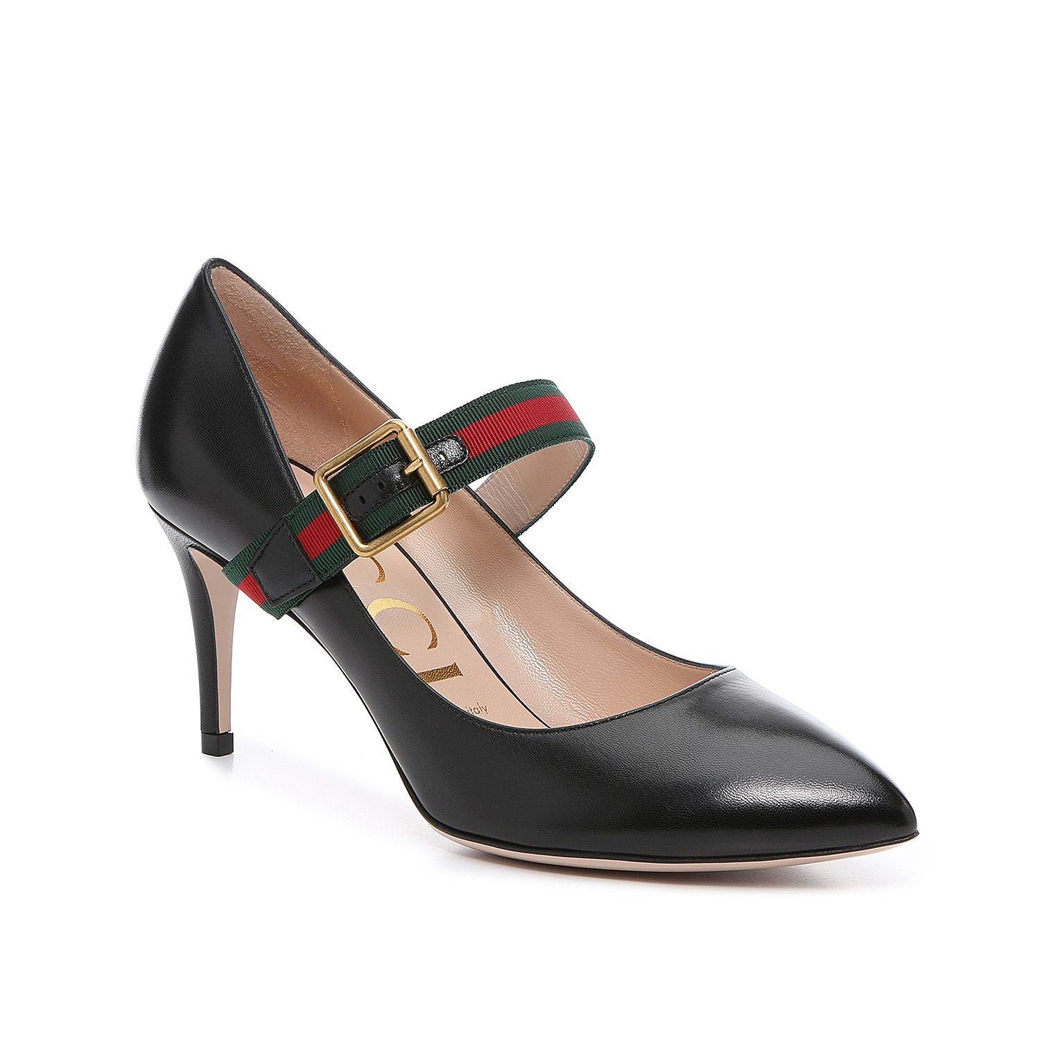 Gucci realizes the iconic Sylvie accessory line into an elegant Mary Jane pump. The signature grosgrain House Web stripe accentuates the buckle fastening and pays homage to the label\\\'s equestrian beginnings, while smooth and supple leather keeps these pumps simply timeless.   Made in Italy from carefully selected materials. To extend product life, protect from direct light, heat, and rain. Fill shoe with tissue paper to help maintain the shape and absorb humidity. Store in the provided flannel bag and structured shoe box.