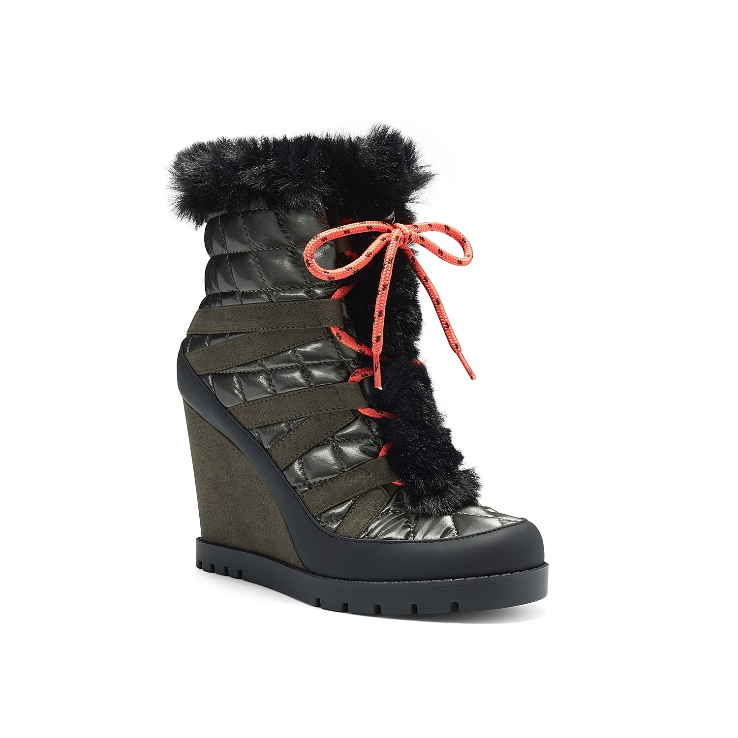 Wrap your foot in the edgy style and warmth of Brixel wedge bootie by Jessica Simpson. This lace-up bootie boasts a quilted upper, fluffy lining and trim, and a high wedge heel with traction rubber sole.Click here for Boot Measuring Guide.