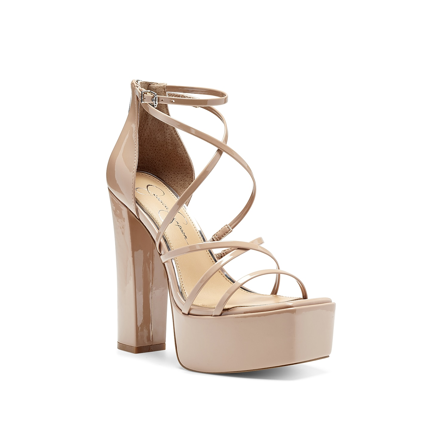 Grace your ensemble with the stunning, strappy silhouette of Jessica Simpson Mirelle platform sandal. Standing atop a high block heel, this dress sandal has an adjustable ankle strap with buckle and back zipper access for a convenient fit.