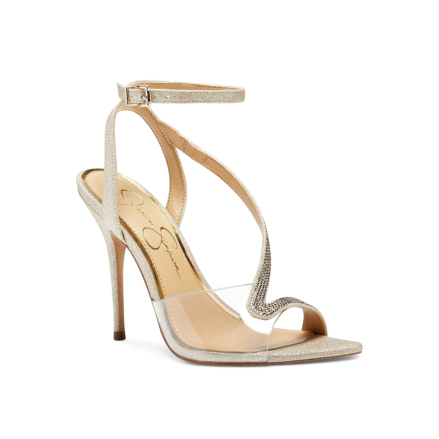 Stun the onlooker with the futuristic Whitley dress sandal from Jessica Simpson. Distinguished by a jewel-accented asymmetrical strap and transparent front band, this high heel sandal has an adjustable buckle strap closure to lend a feminine fit.