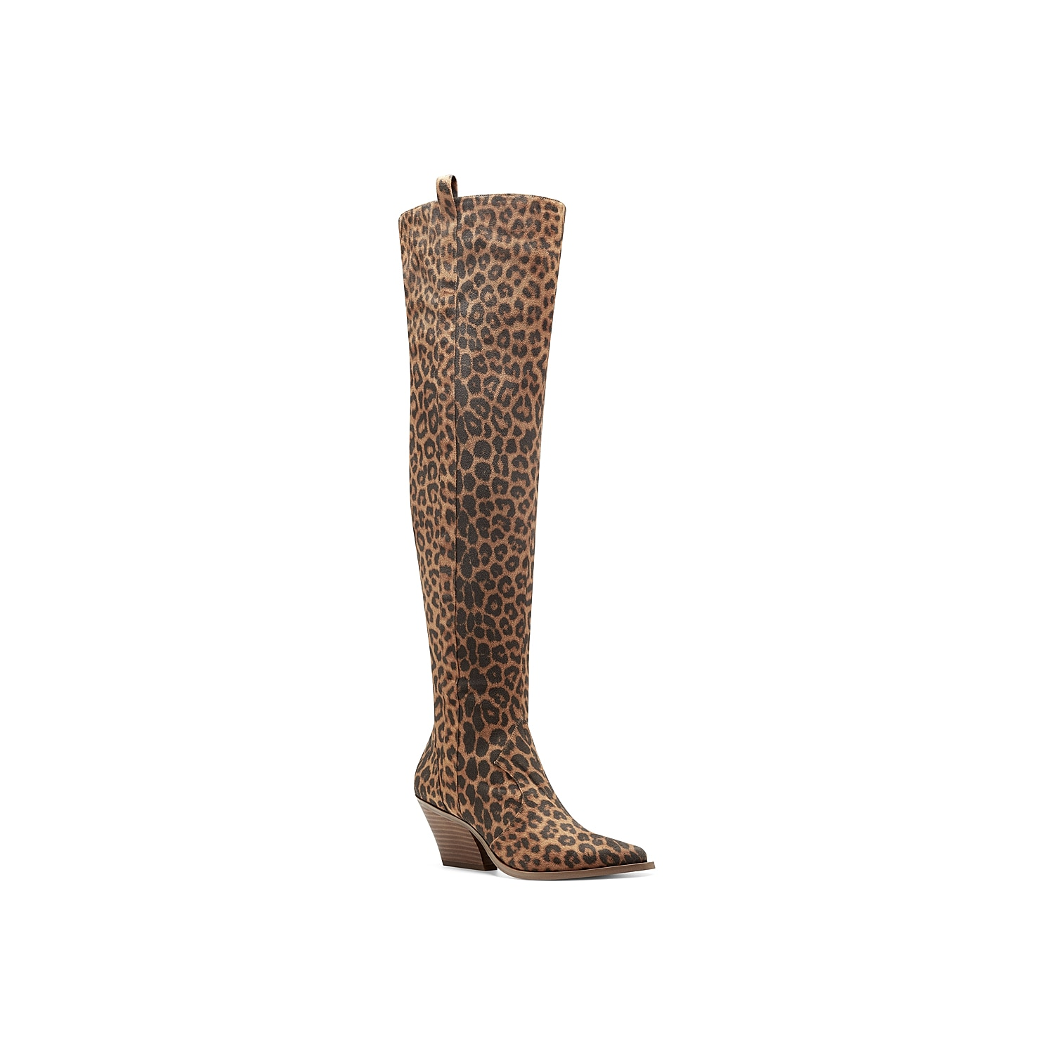 Boast a stunning look with the Zeana over the knee boot from Jessica Simpson. With a glossy upper, this tall boot showcases pointy toe, side pull tab and chunky block heel.Click here for Boot Measuring Guide.