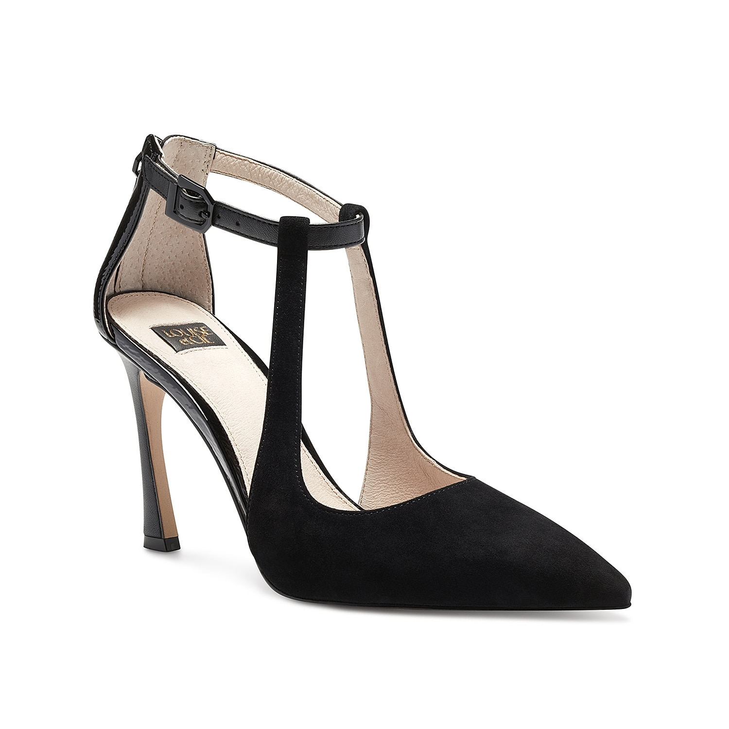 Add elegance to your overall ensemble pairing the beautiful Louise Et Cie Taniel dress pump. Gorgeous slim straps conjoin the pointy forefoot with the ankle strap while a unique tapered heel brings in added flair.