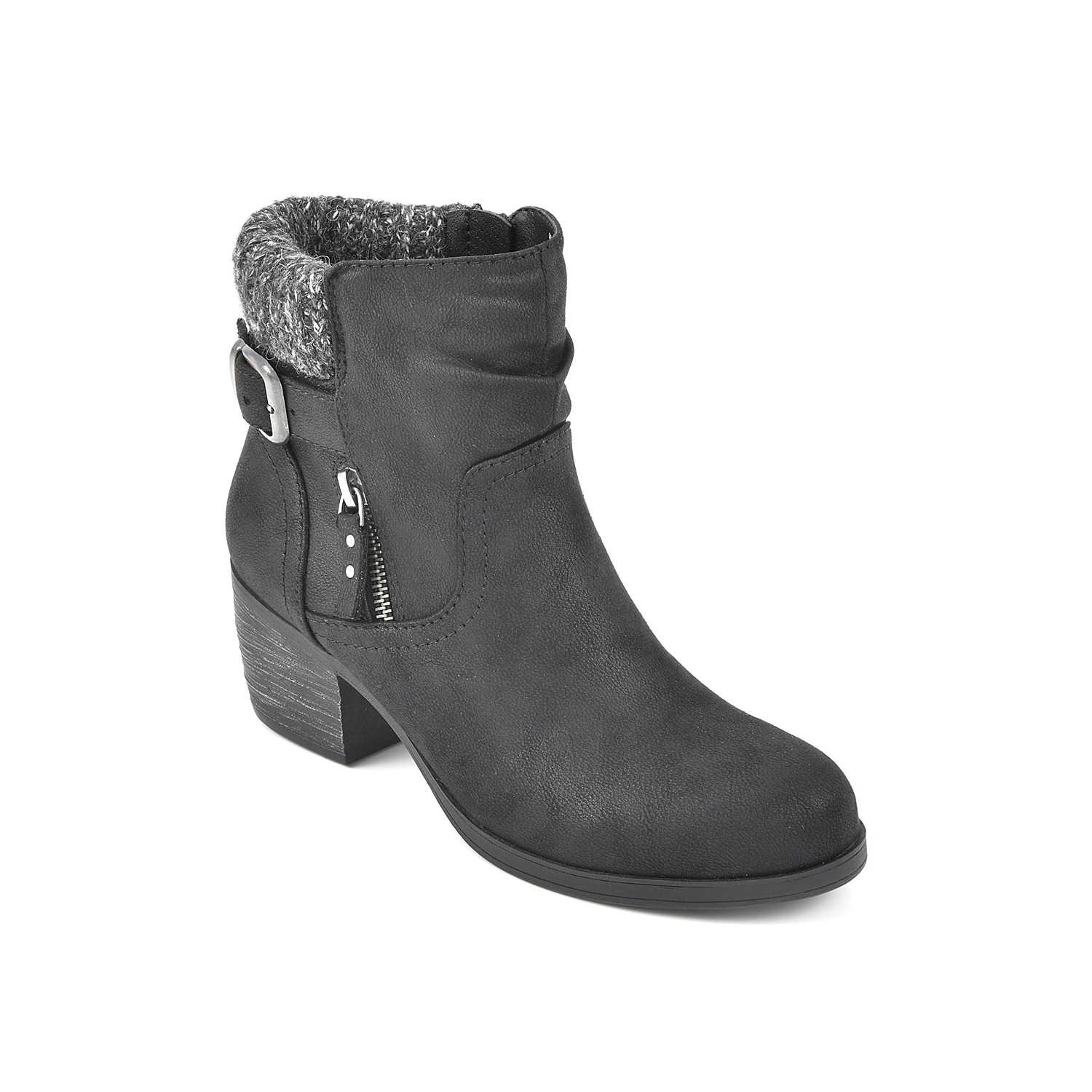Add a layer of warmth to your chilly weather outfit with the Stellar bootie by White Mountain. This ankle bootie treated with water-resistant 3M Scotchgard is styled with cozy collar and buckle strap detail.Click here for Boot Measuring Guide.