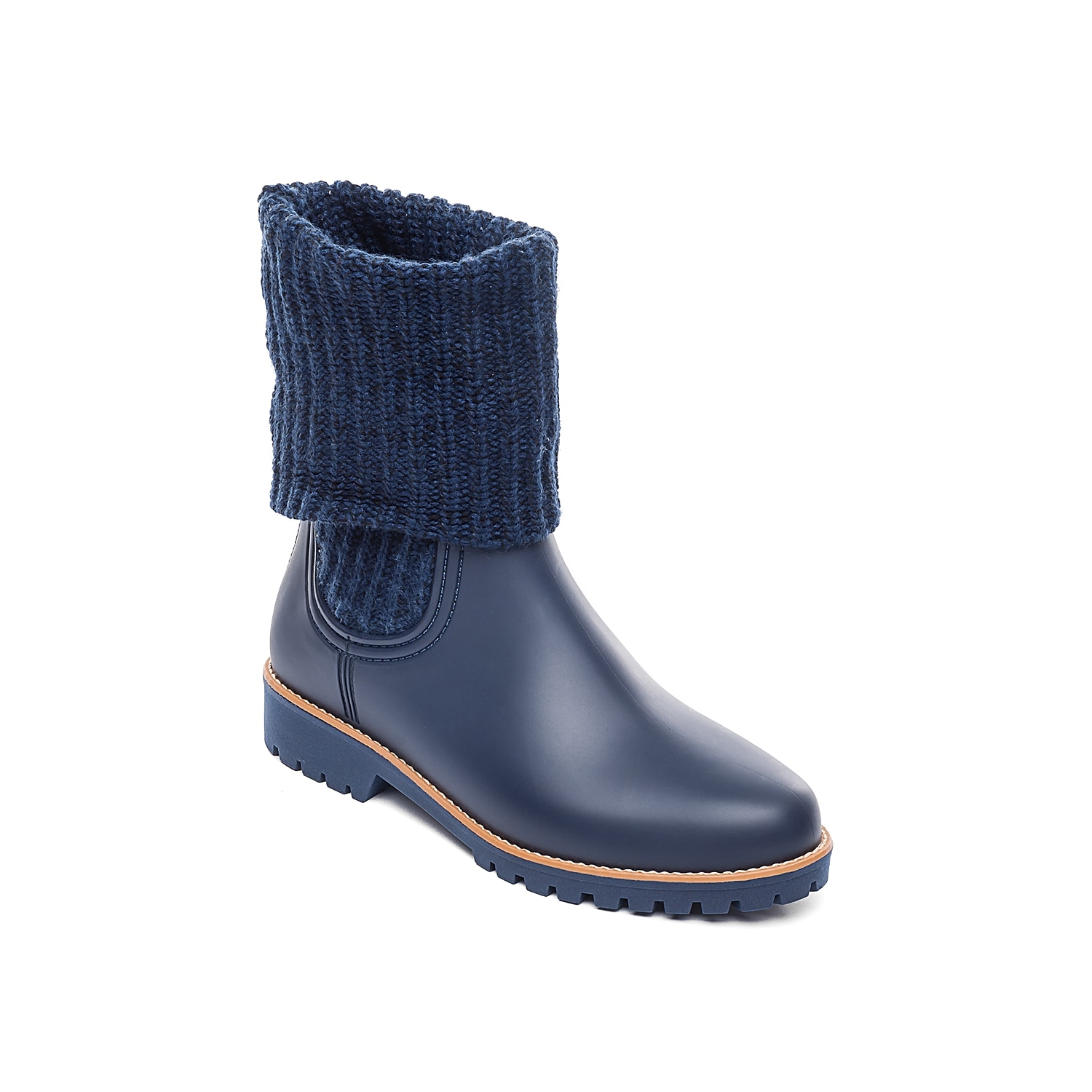 Protect your foot and look good while doing it in the Zurich rain bootie from Bernardo. Showcasing a waterproof shell, it features rubber upper with side knit panels and foldover cuff and foam padded footbed that offers all day support.Click here for Boot Measuring Guide.
