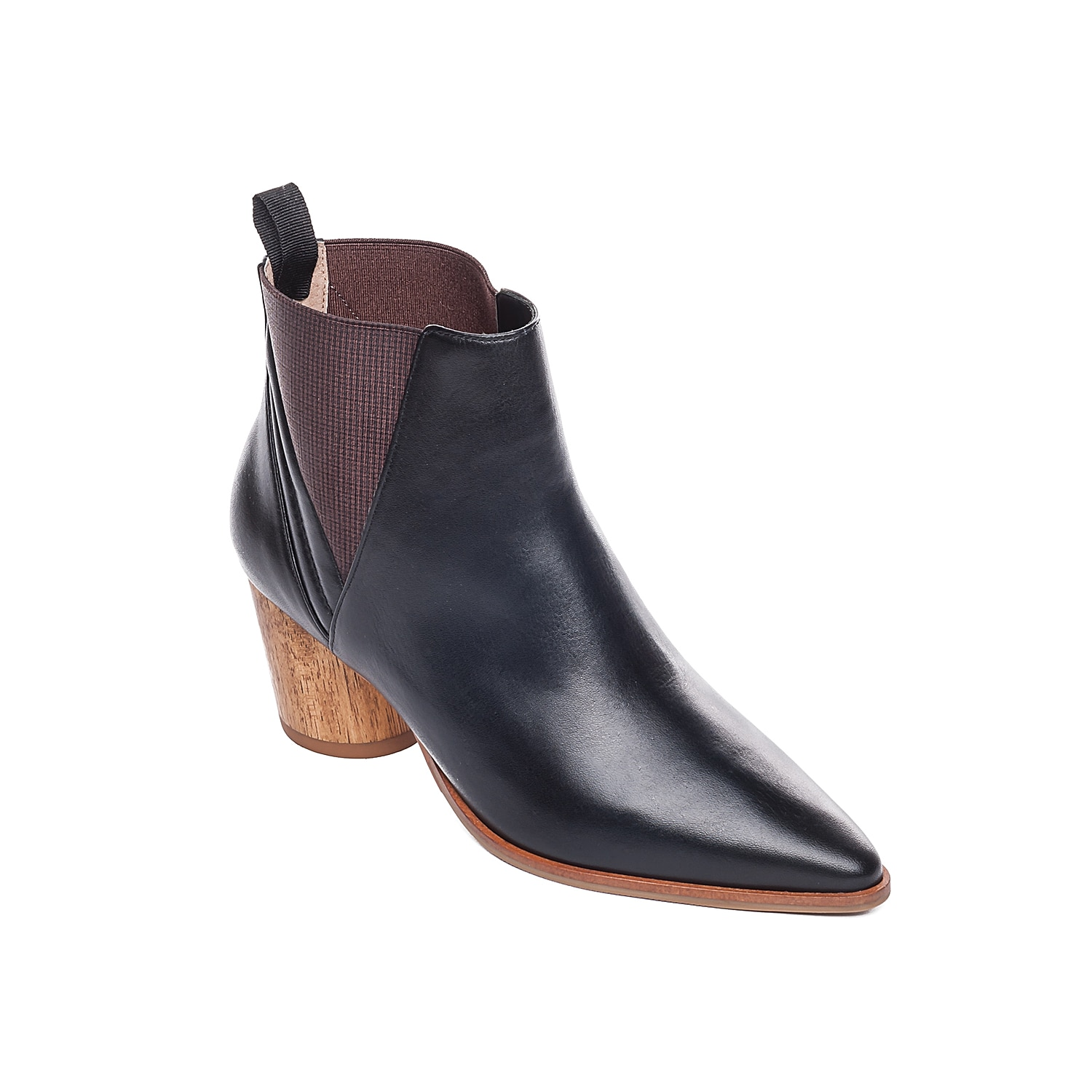 Become the cynosure of all eyes donning the Bernardo Ferris ankle boot. Sleek pointed toe, polished calf leather upper, antique elastic panels, padded leather sock and contrasting textured block heel define this graceful ankle boot.Click here for Boot Measuring Guide.