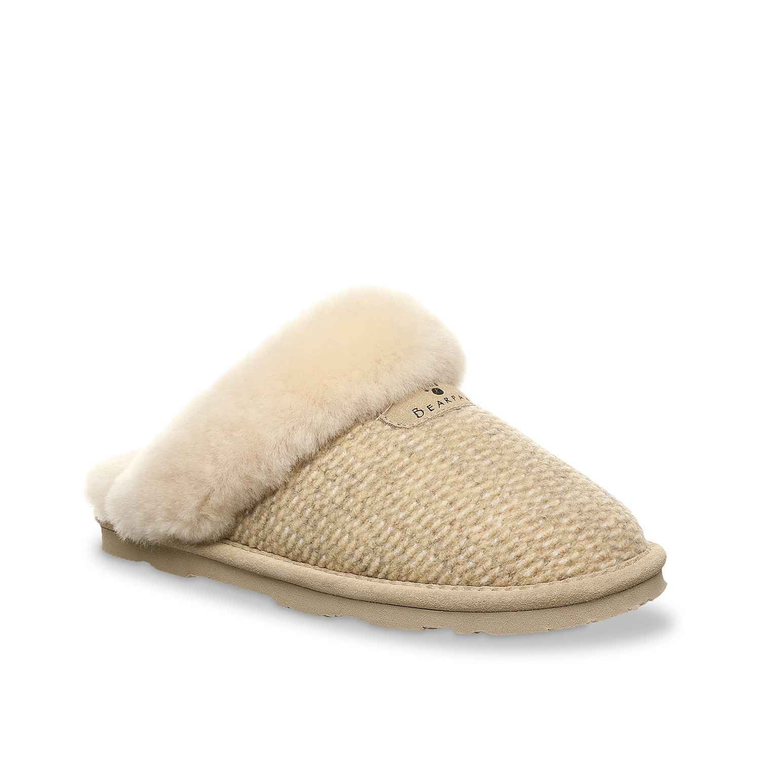 Get the cute factor in no time donning the Bearpaw Effie scuff slipper. Beautifully knit upper is complemented by a shearling collar, lining and footbed for pampering comfort.