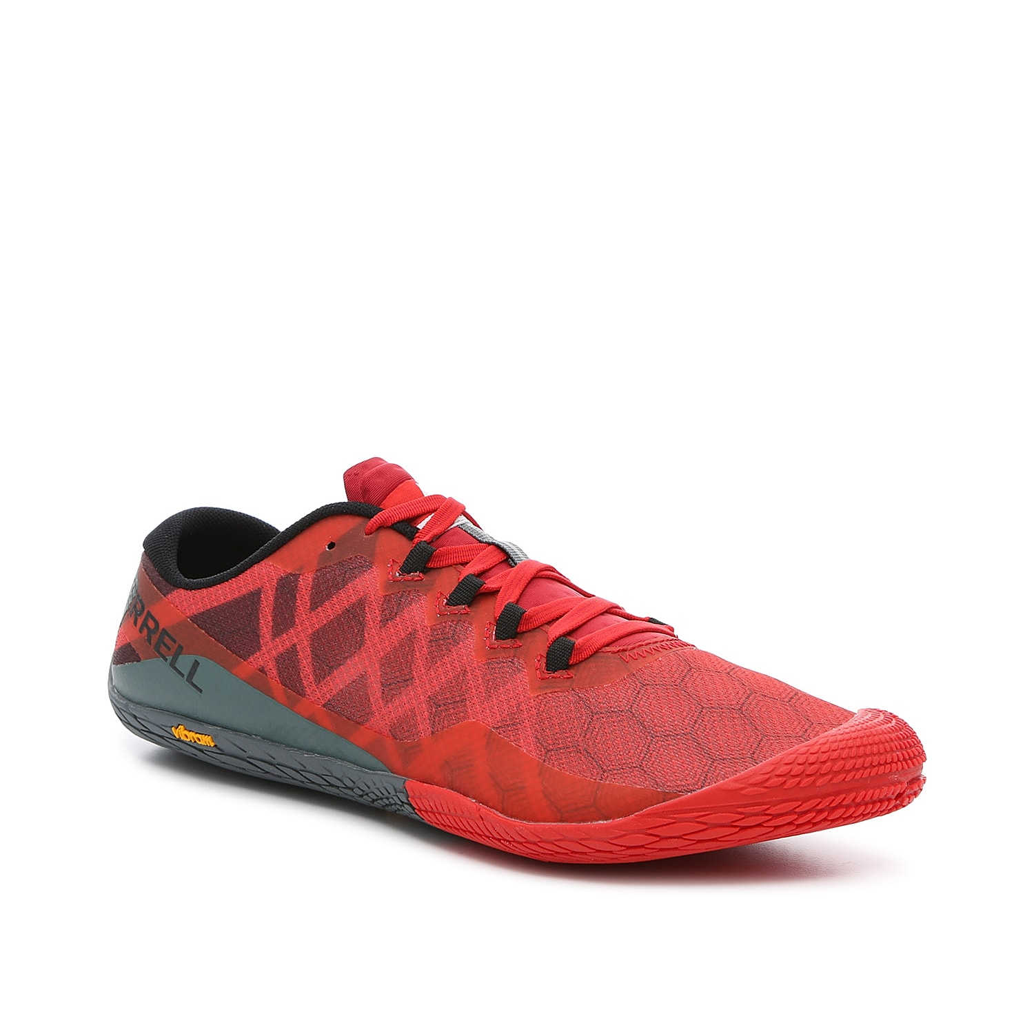 The Vapor Glove 3 running shoe by Merrell makes you feel natural, while providing protection and comfort. This barefoot shoe is built with nylon upper, lightweight EVA midsole and grippy rubber sole.