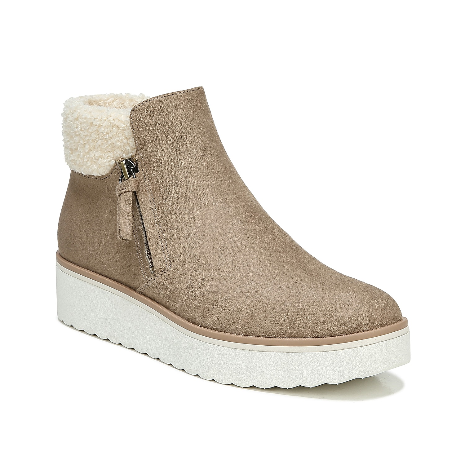 The Dr. Scholl\\\'s Lunar sneaker boot gives you that posh sporty profile you\\\'ve always wanted. Contrasted by an interesting shearling collar, this boot\\\'s eco-friendly upper has a comfortable yet unique outside zipper for convenient access.Click here for Boot Measuring Guide.