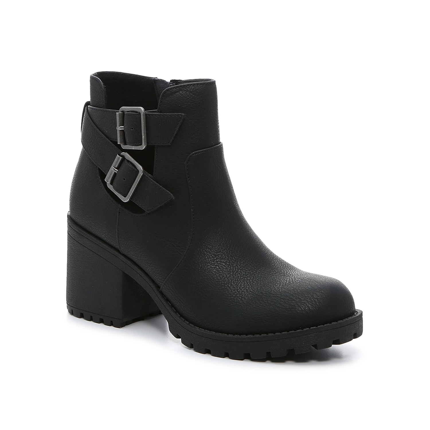 Add edge to your whole cool weather wardrobe with the Level bootie from Dirty Laundry. With decorative buckle accents covering the side cut out, this ankle boot will be sure to catch eyes.Click here for Boot Measuring Guide.