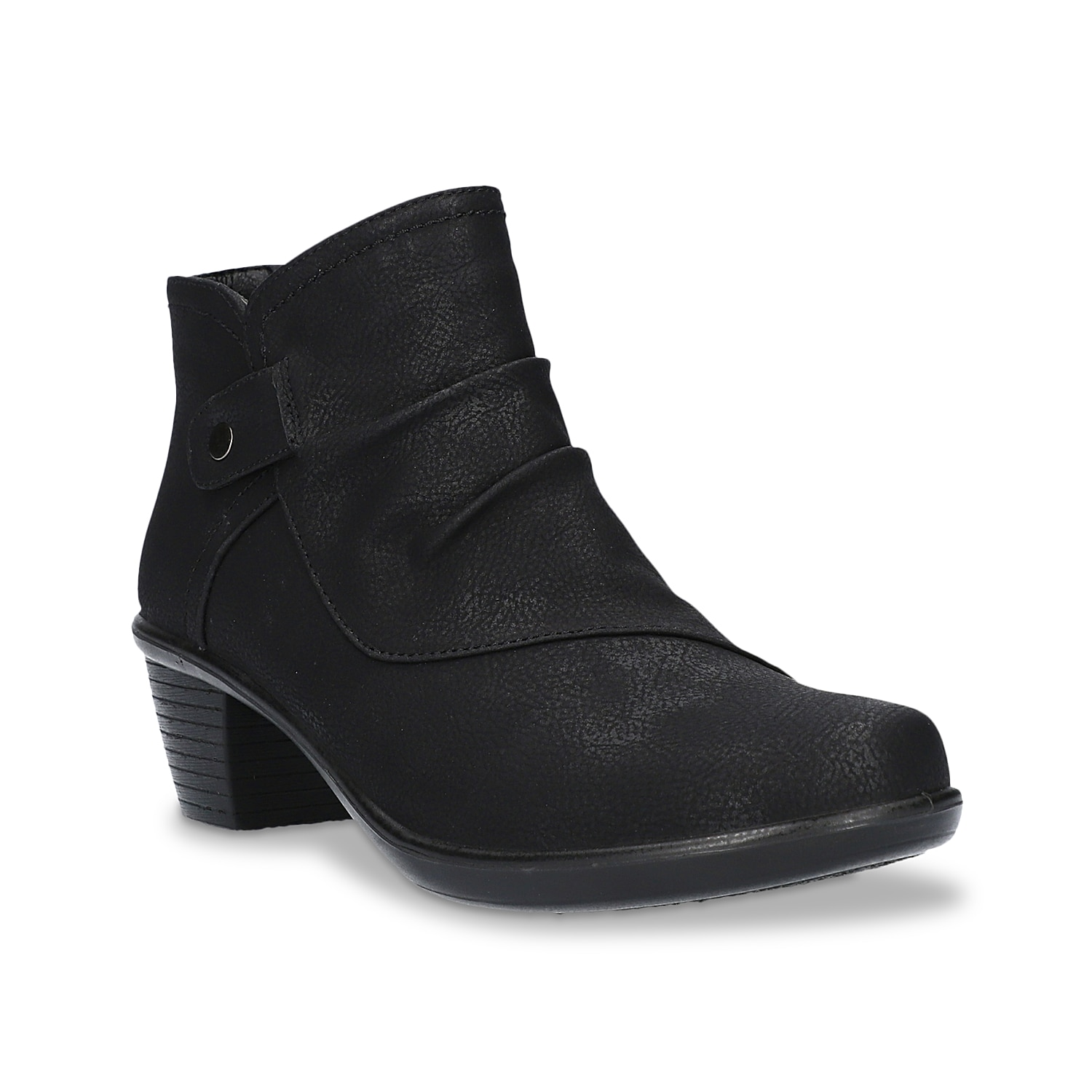 The Easy Street Cooper bootie has the right balance of fashion and functionality. Boasting of ruched upper with coordinating nailhead trim, this ankle bootie has convenient inside zip closure, comfortable Easy Motion insole and supportive stacked block heel.Click here for Boot Measuring Guide.