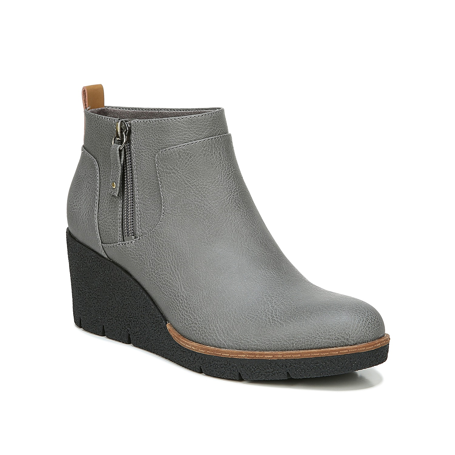 The Bianca bootie by Dr. Scholl\\\'s can seriously go well with a wide range of outfits. The eco-friendly faux leather upper is supported by an Insole Technology with anatomical cushioning and a solid wedge heel.Click here for Boot Measuring Guide.