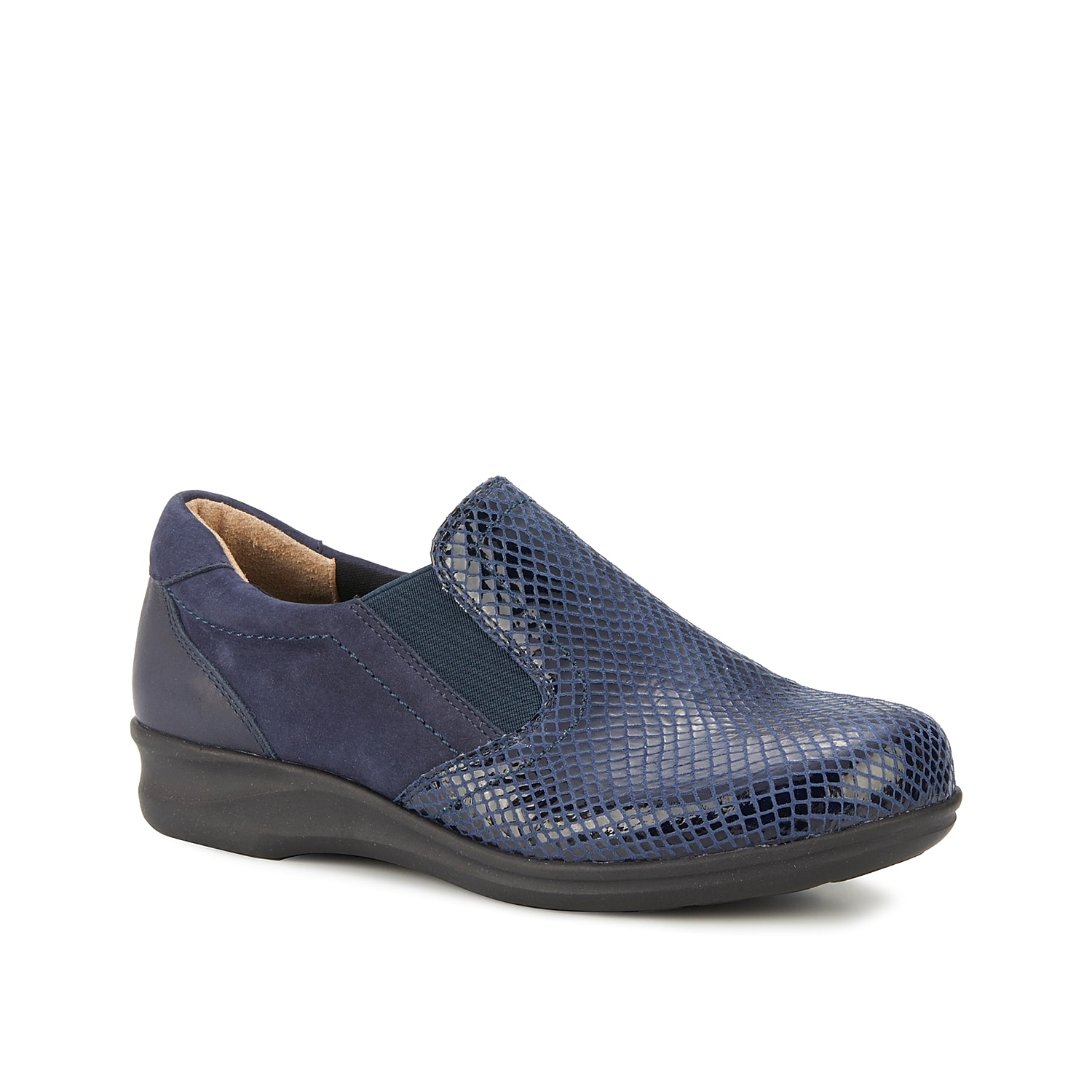 Stay supported anywhere you go with the Eamon slip-on from Walking Cradles. This leather pair features a Tiny Pillows footbed to cushion every step.