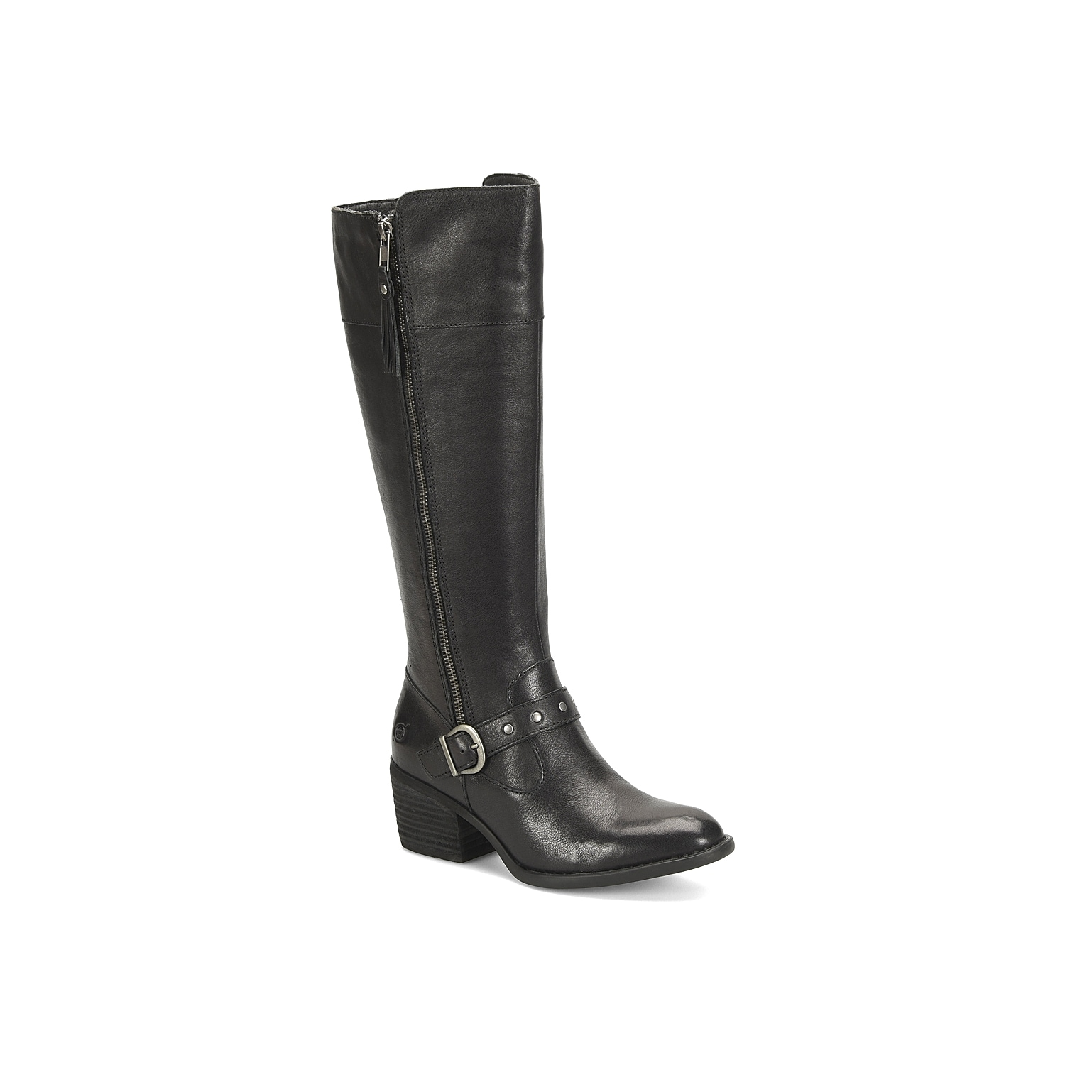 Show off classic style with any cool weather look with the Alize riding boot from Born. The leather upper features natural distressing and a studded strap for a touch of edge.Click here for Boot Measuring Guide.