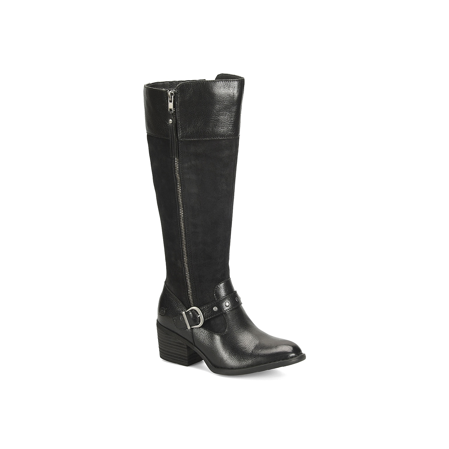 Show off classic style with any cool weather look with the Alize riding boot from Born. The mixed material upper features natural distressing and a studded strap for a touch of edge. Click here for Boot Measuring Guide.