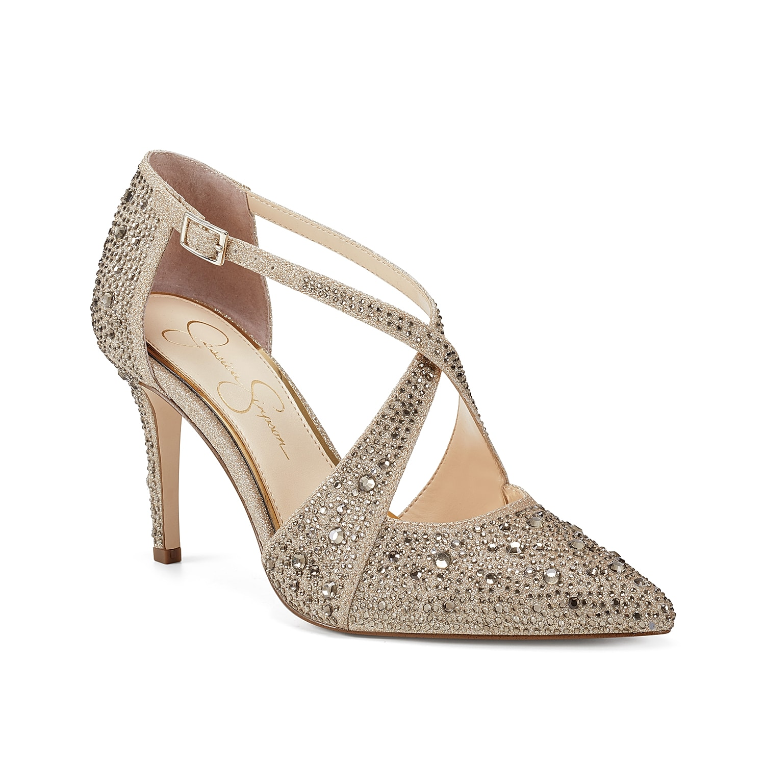 Complement elegant looks with the Accule pump from Jessica Simpson. This shimmering pair features bold criss cross straps and a rhinestone-embellished upper to catch eyes.