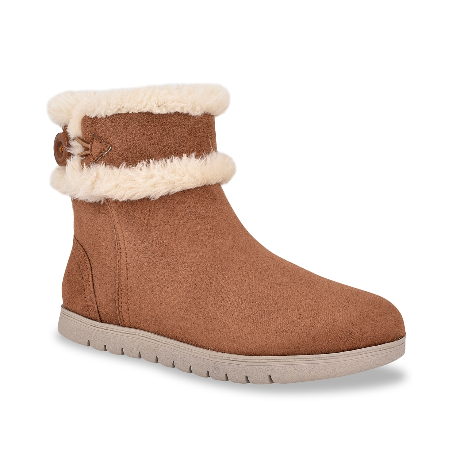 You can rely absolutely on the Snowy bootie by Easy Spirit for your indoor and outdoor strolls. Comprising a pull-on profile with button for easy wear, this slipper bootie has plush faux fur trim, comfortable fabric footbed and lightweight, molded rubber sole.Click here for Boot Measuring Guide.