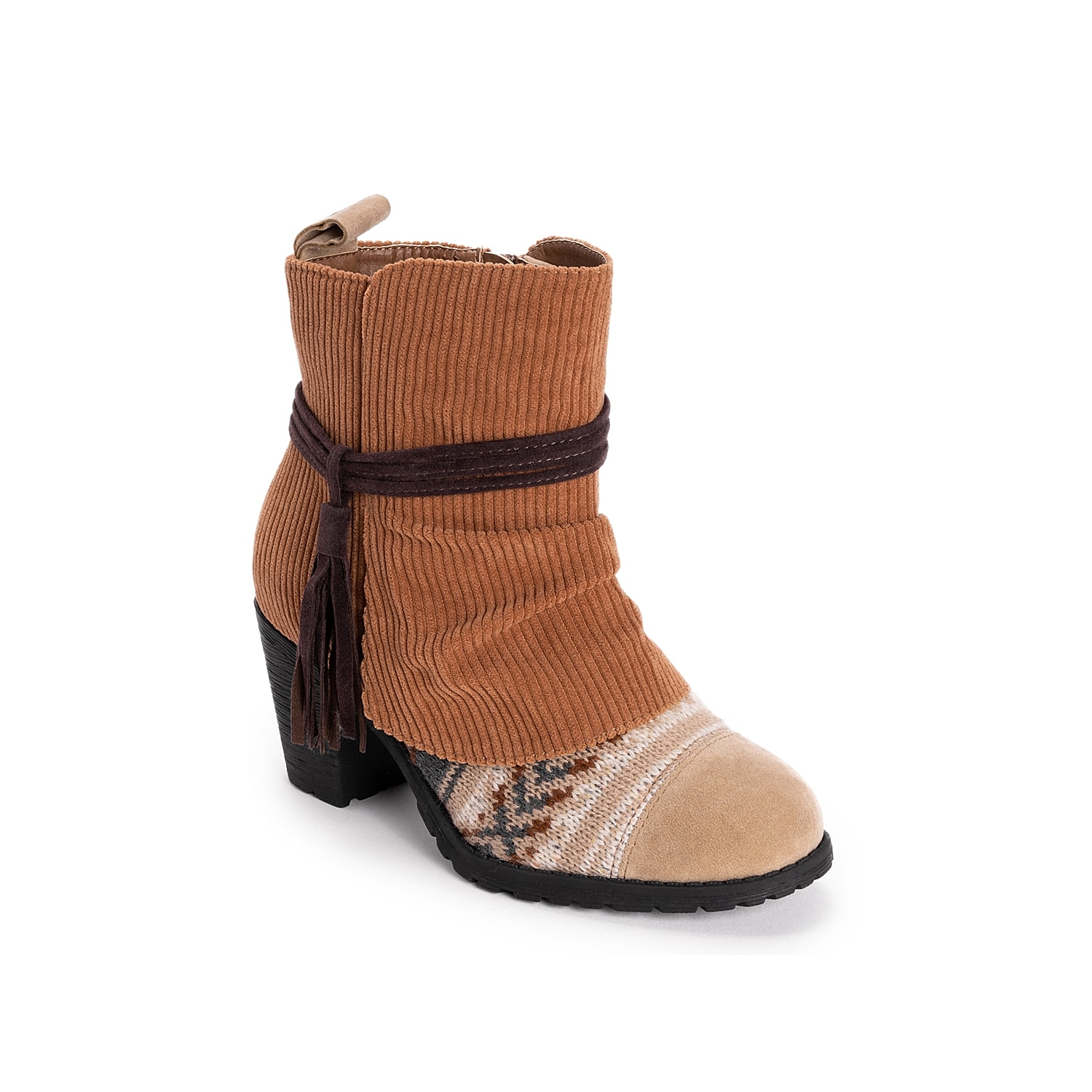 Update cool weather looks with the Celyn bootie from Muk Luks. This ankle boot features mixed material upper with a tassel accent and block heel for added style.Click here for Boot Measuring Guide.