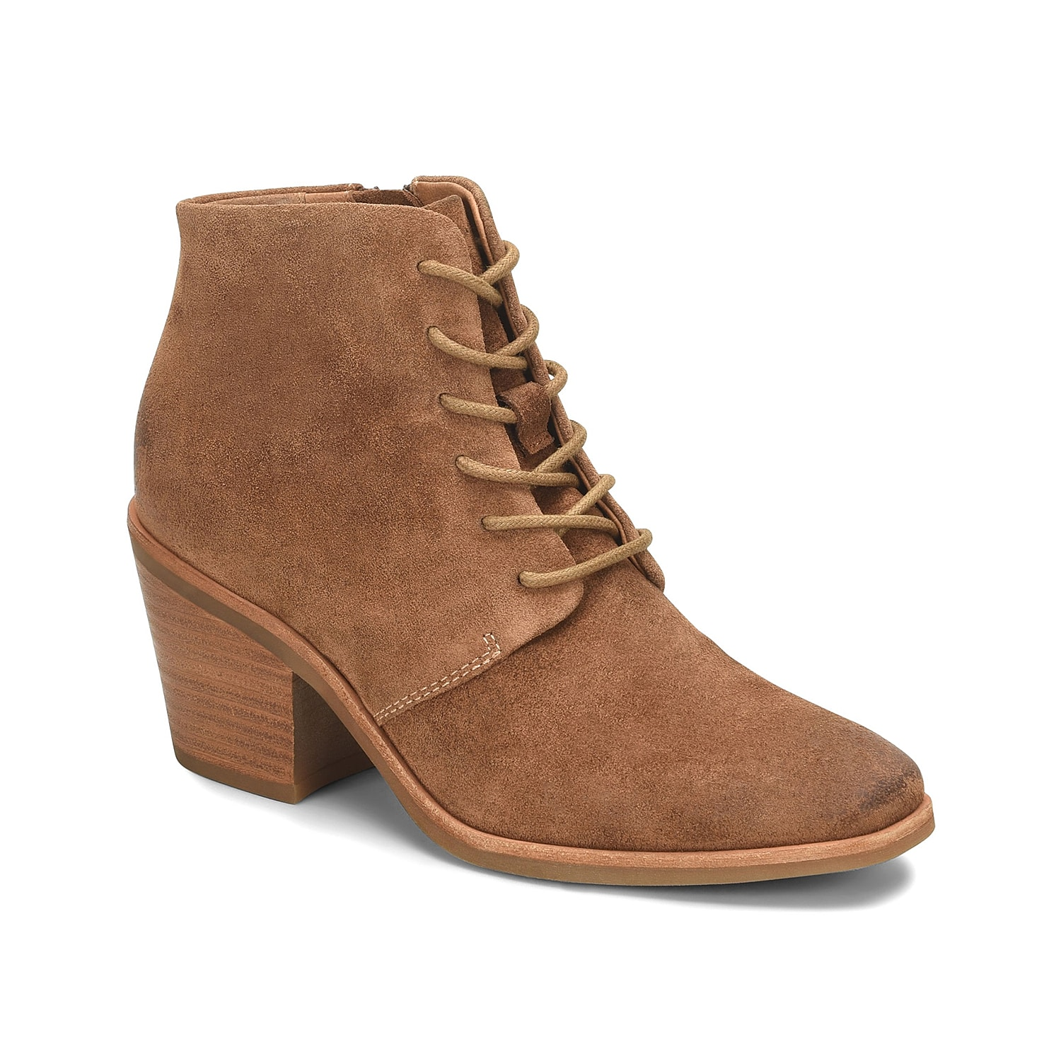 The Corlea bootie from Sofft is a classic design with an elegant lift. Made of luxurious leather, this lace-up bootie is cushioned at ball, heel and arch for superior support.Click here for Boot Measuring Guide.