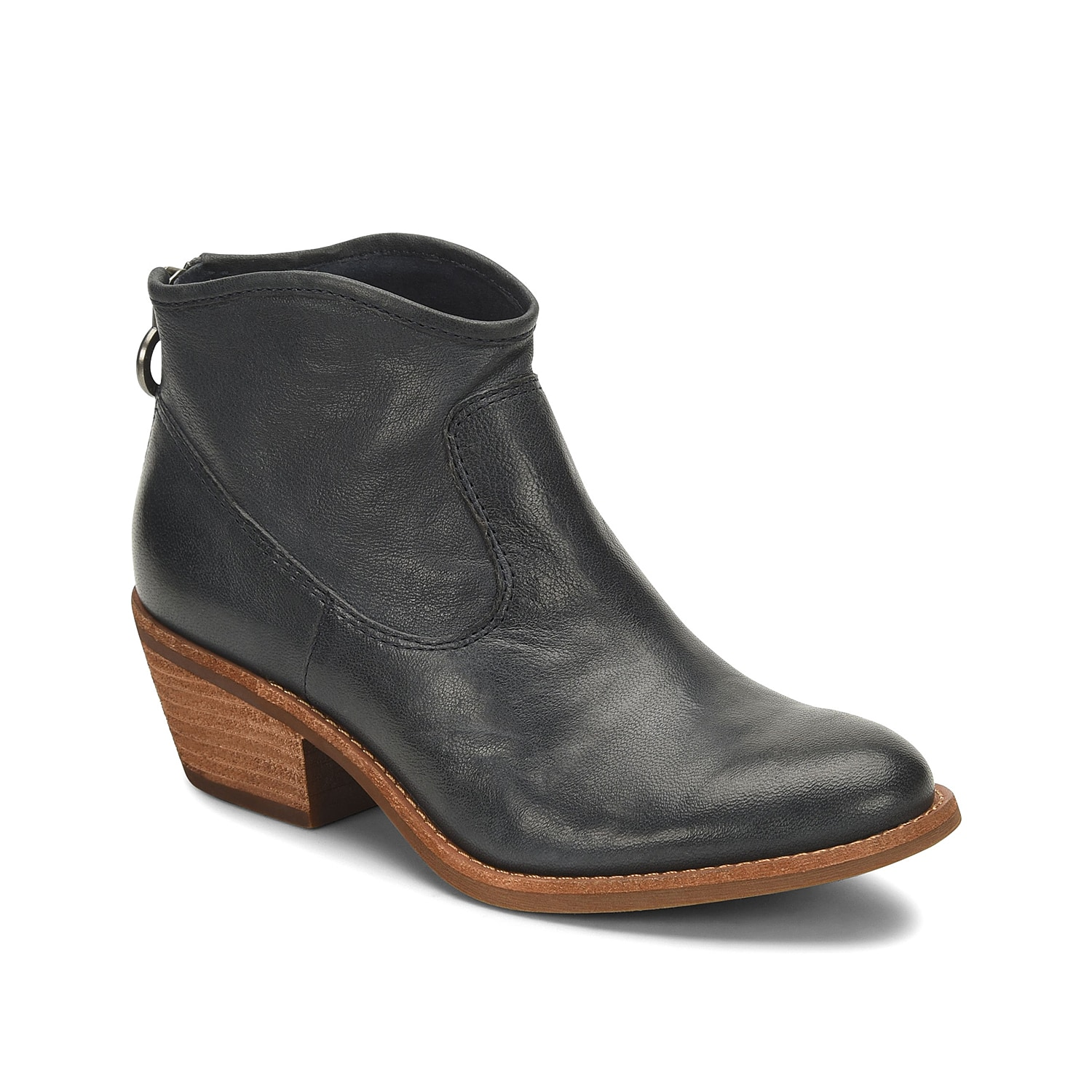 Lend a sleek flair to your casual look with the Aisley western bootie from Sofft. This ankle bootie is crafted from leather for a sophisticated appeal and is finished with a block heel for a modest lift.Click here for Boot Measuring Guide.