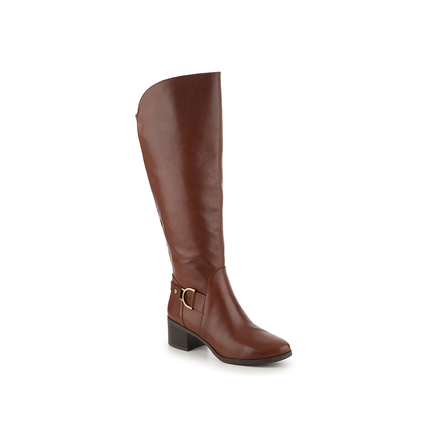 The Jamee riding boot from Anne Klein exudes sophistication with its hardware embellished strap and smooth leather upper. This wide calf knee high boot features a stretch fabric panel making this pair easy to wear with jeans or thick socks.Click here for Boot Measuring Guide.